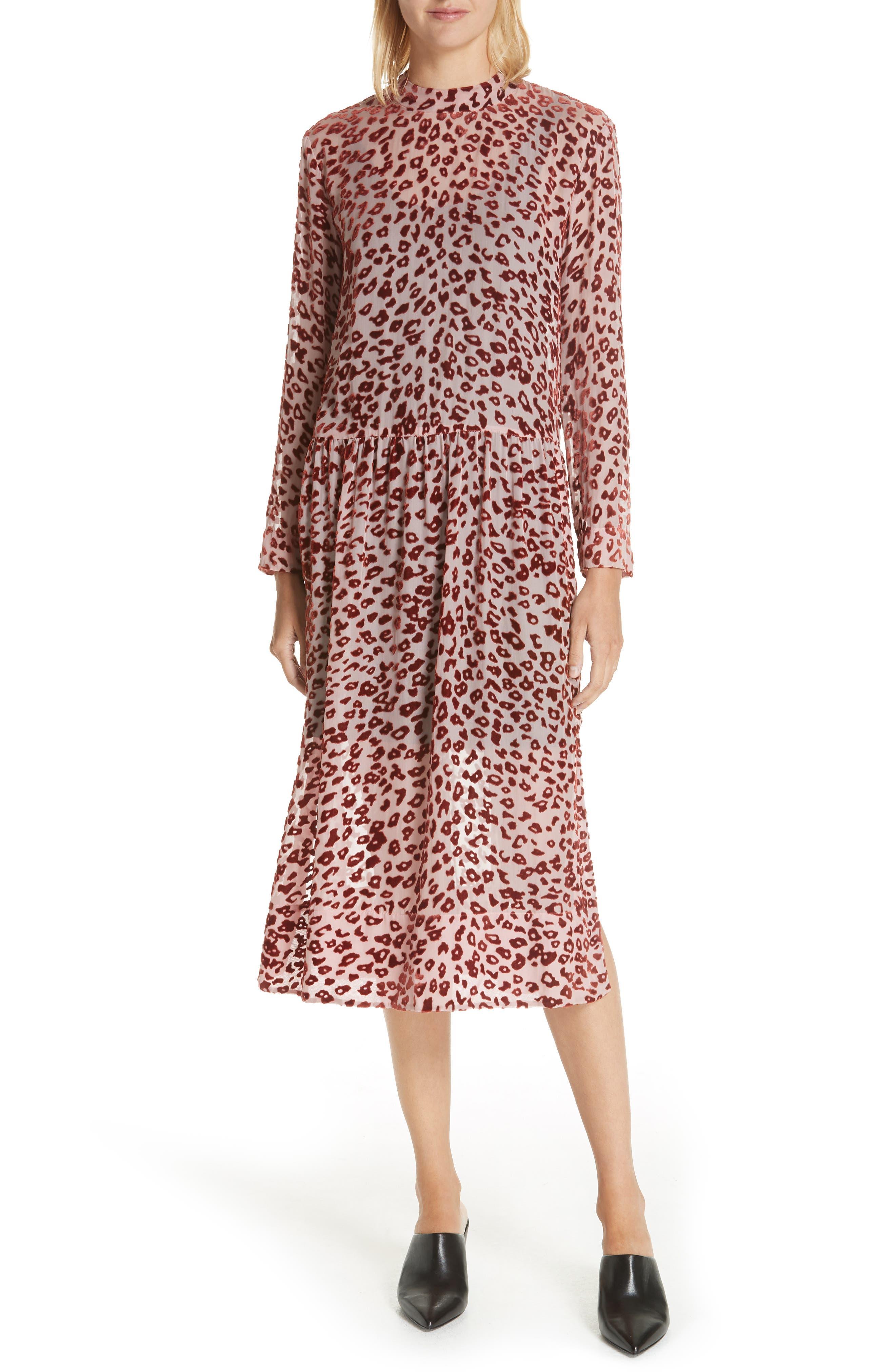 Gia Velvet Burnout Long-Sleeve Shirtdress in Pink/Rust