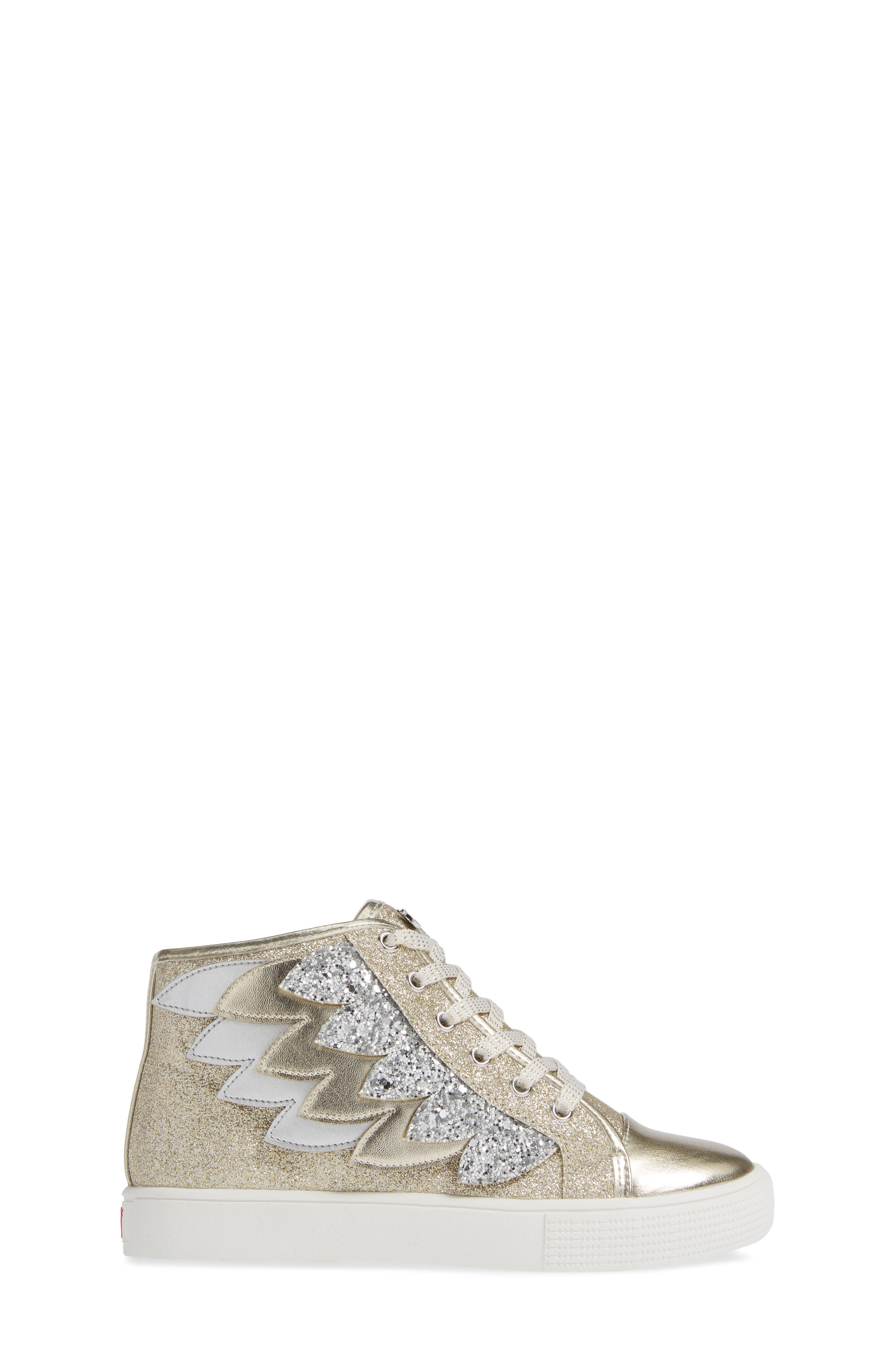 Willa Winged Glitter High Top Sneaker,                             Alternate thumbnail 3, color,                             SOFT GOLD SILVER