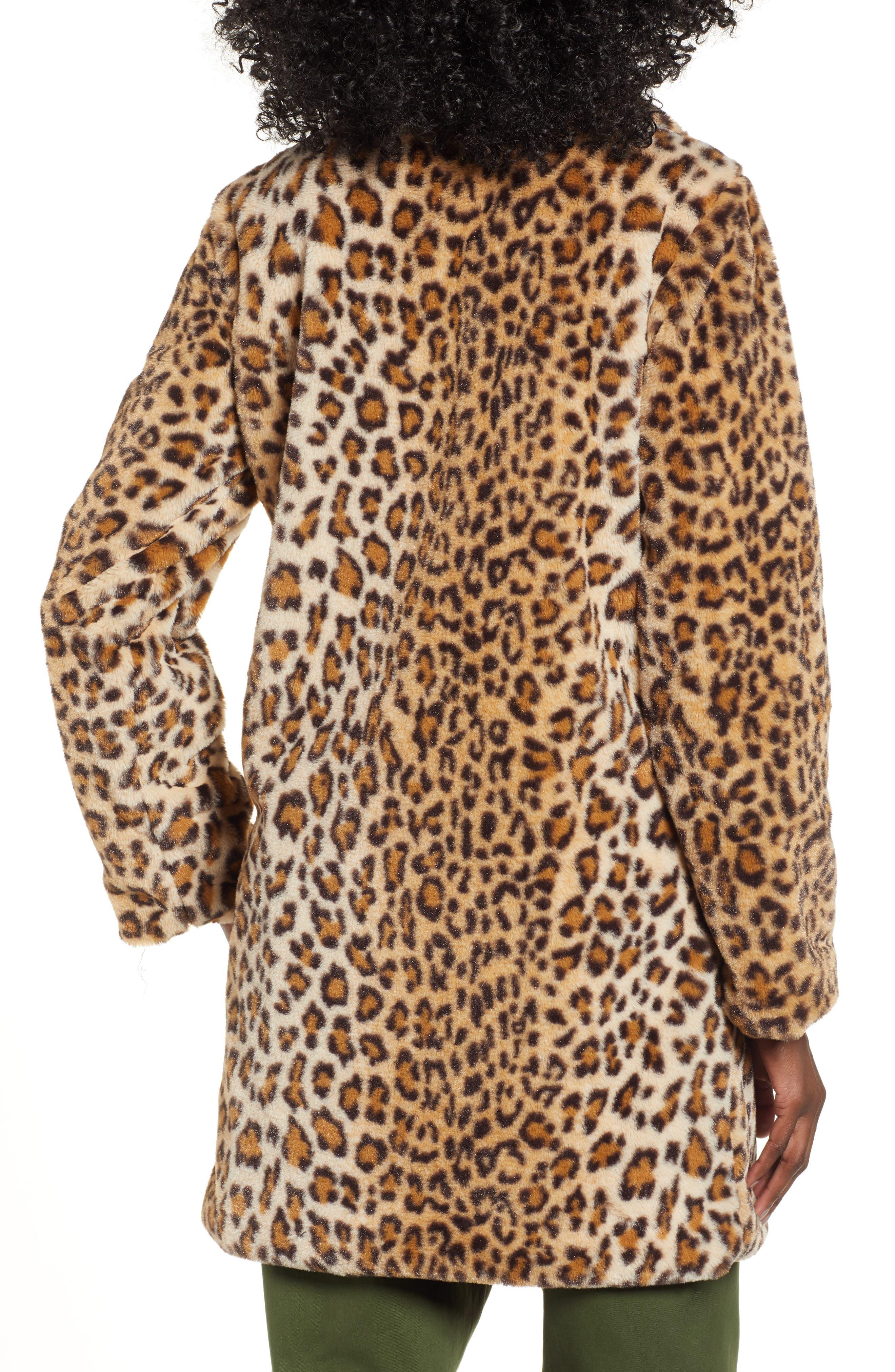 Stefani Leopard Print Faux Fur Coat,                             Alternate thumbnail 2, color,                             200