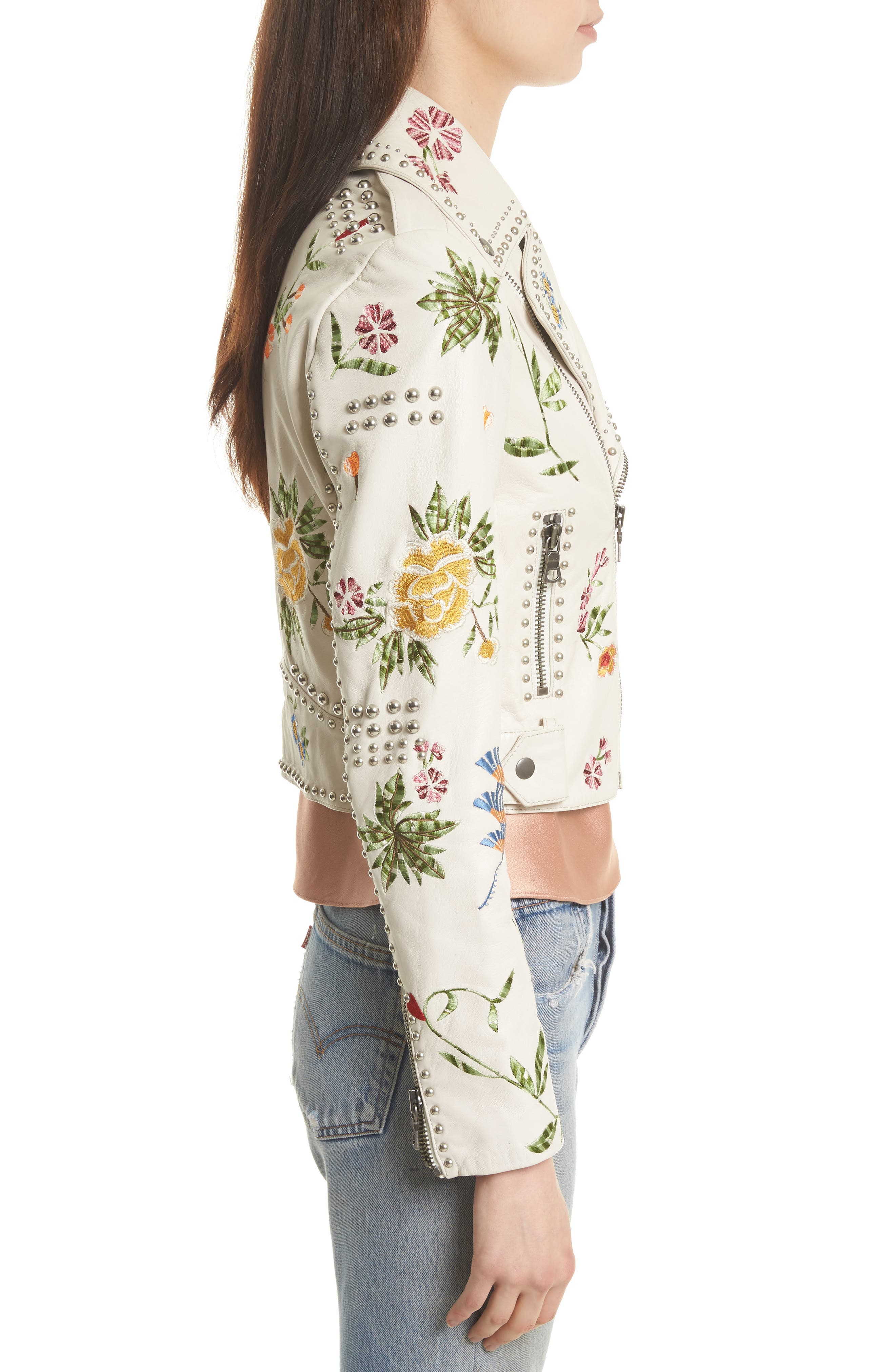 Cody Embroidered Crop Leather Jacket,                             Alternate thumbnail 3, color,                             253
