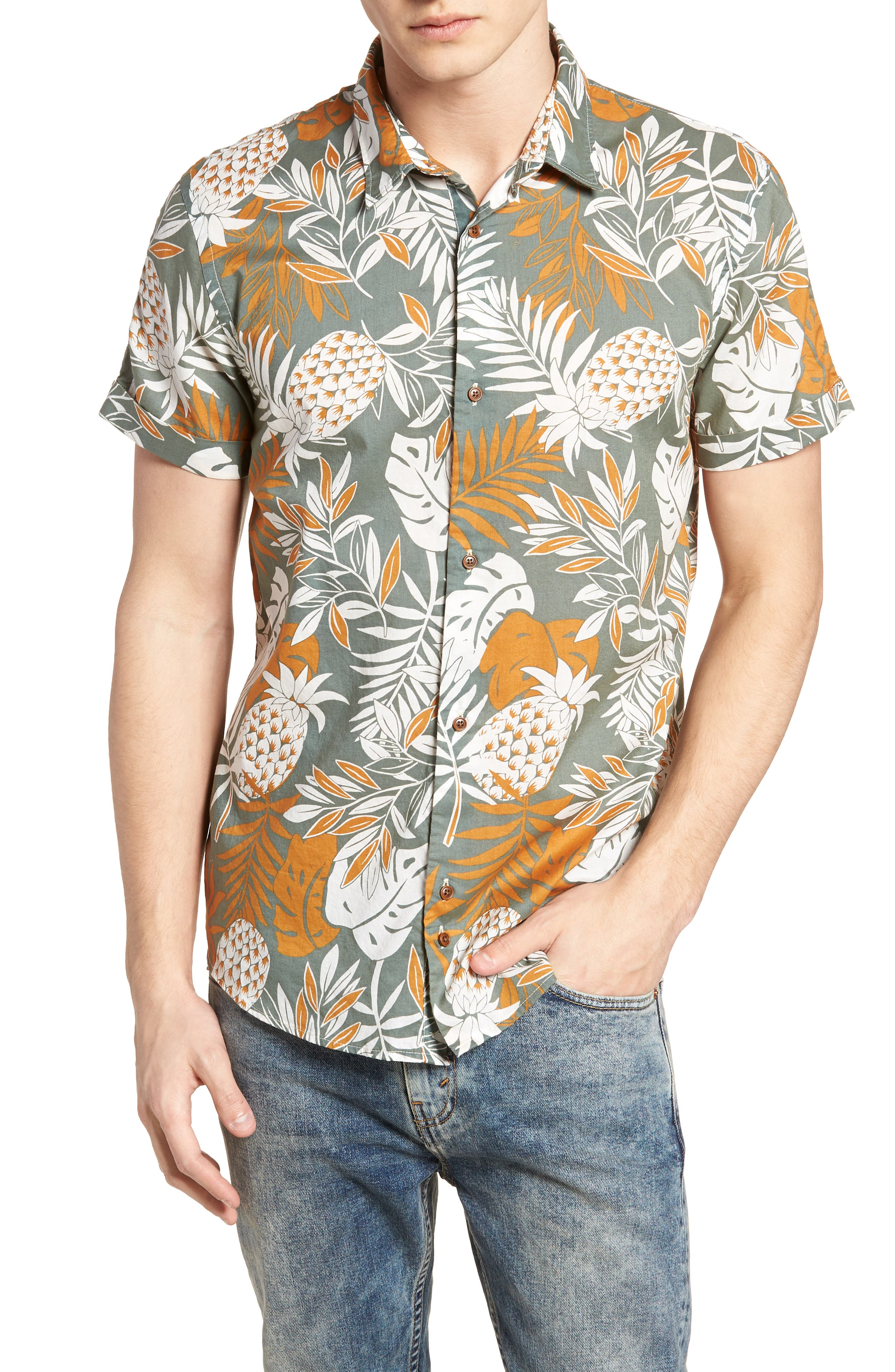 Floral Print Woven Shirt,                             Main thumbnail 1, color,                             100