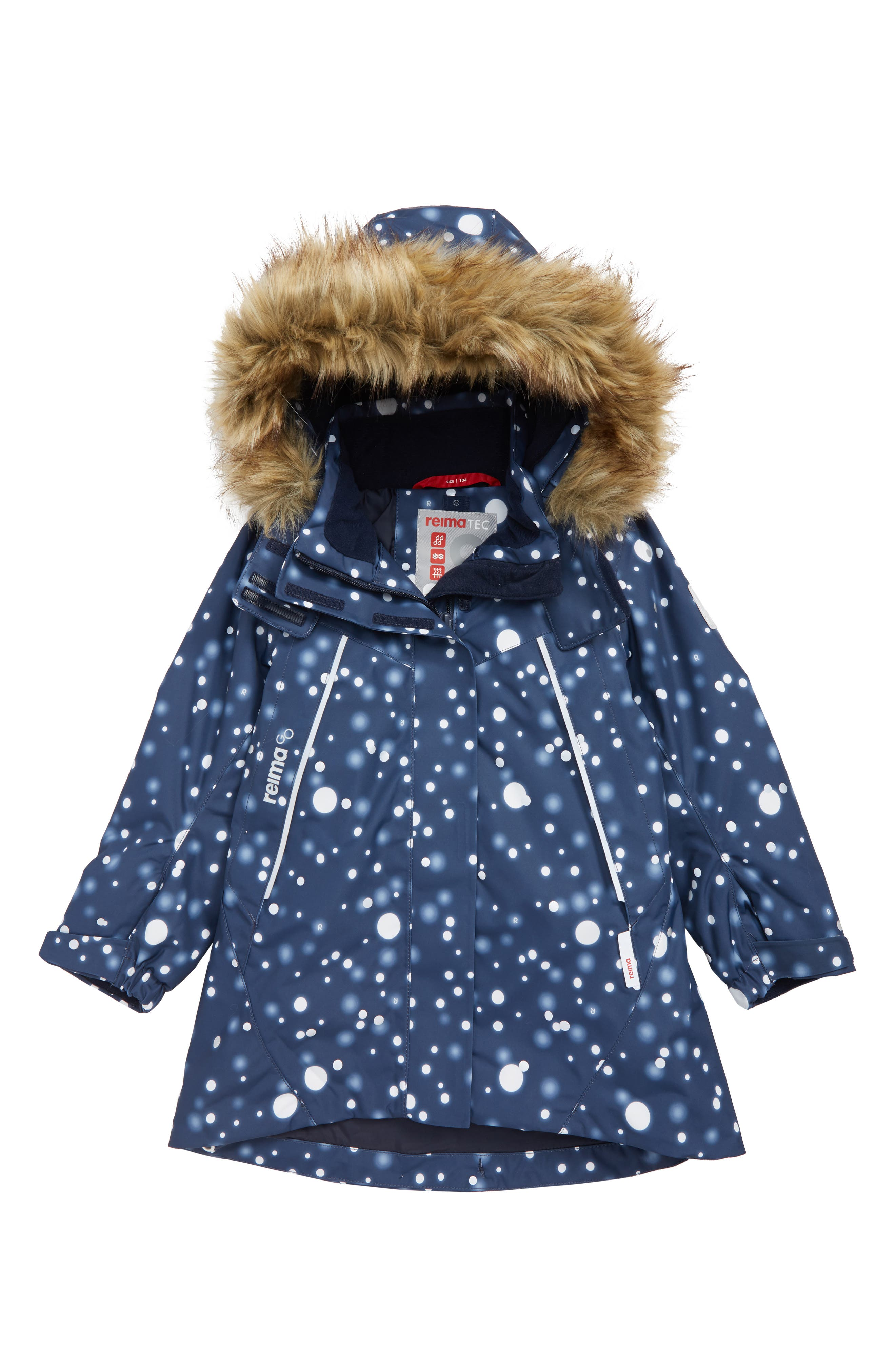 Silda Reimatec<sup>®</sup> Waterproof Hooded Jacket with Faux Fur Trim, Main, color, BLUE
