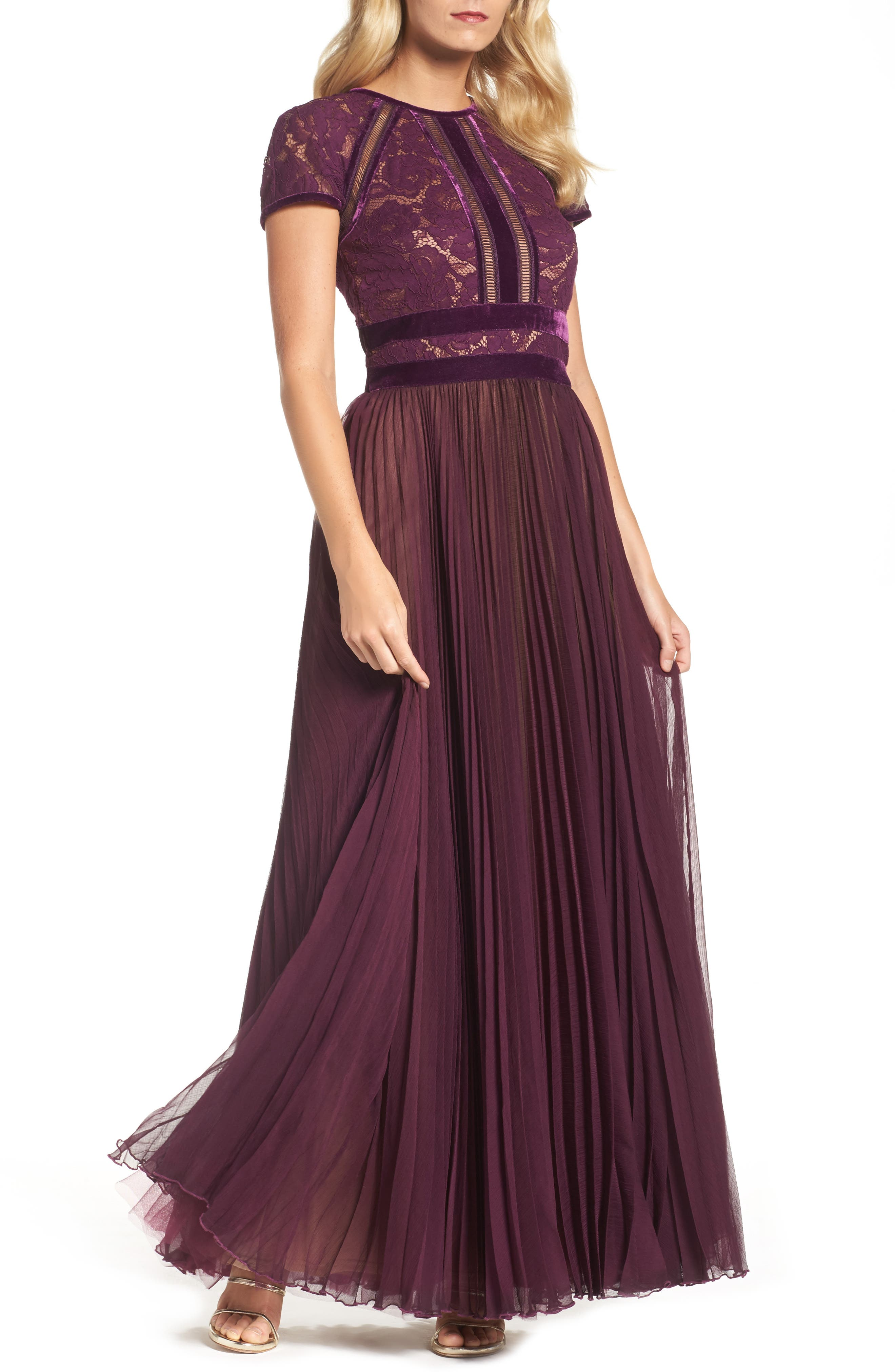 Pleated Lace & Chiffon Gown,                         Main,                         color, 572