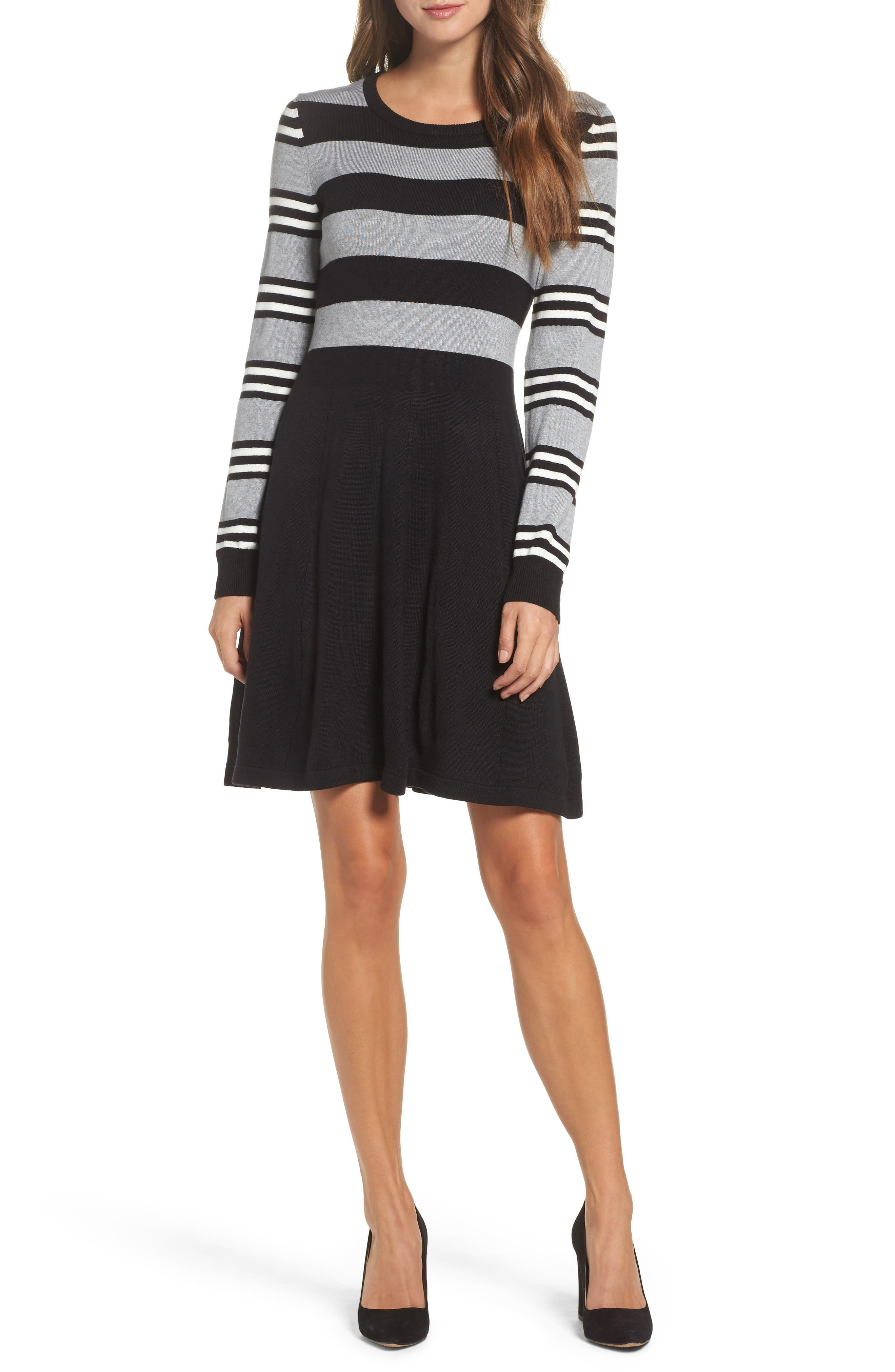 Fit & Flare Sweater Dress,                             Main thumbnail 1, color,                             003