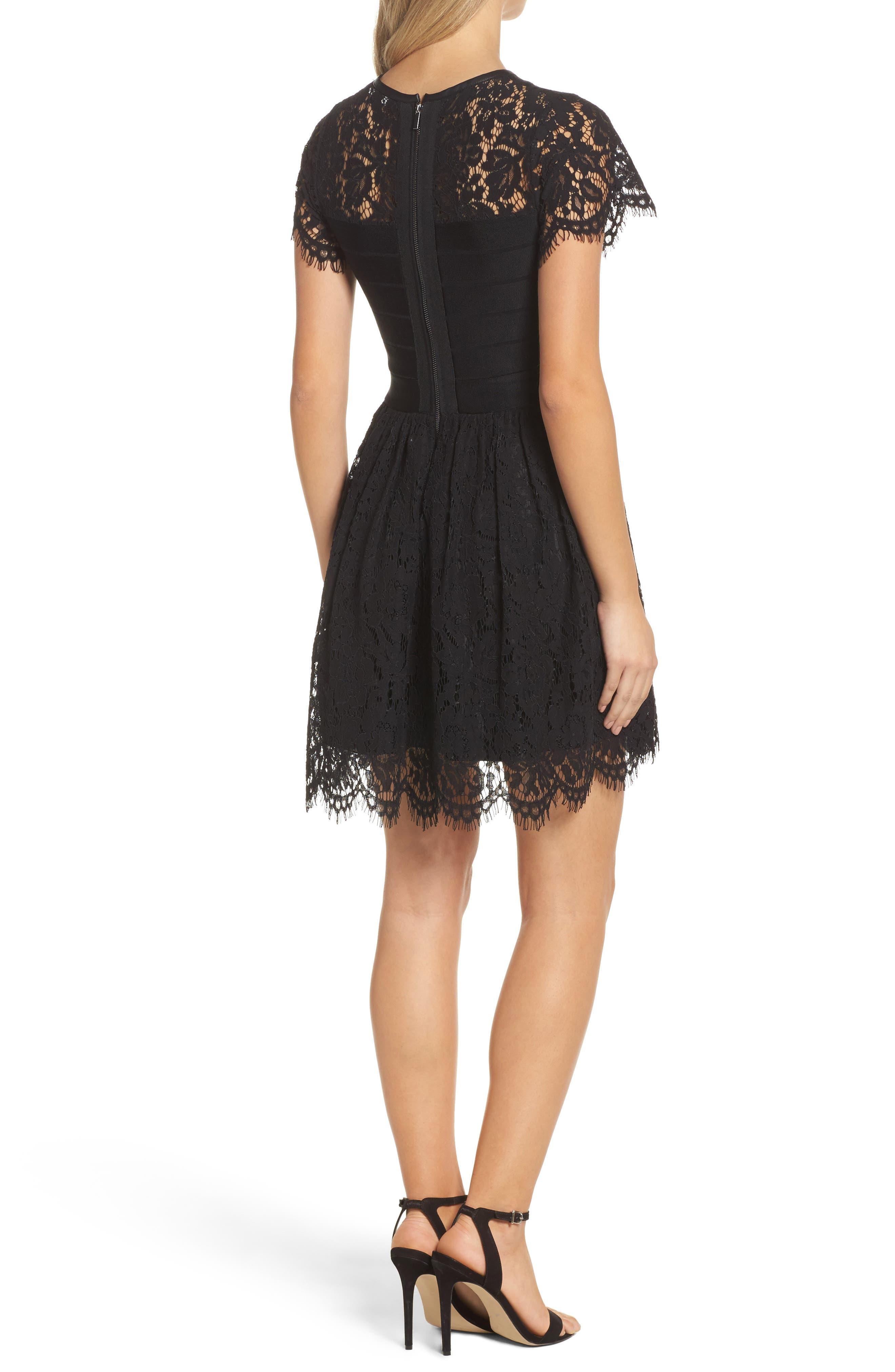 Shana Spotlight Lace Dress,                             Alternate thumbnail 2, color,                             BLACK