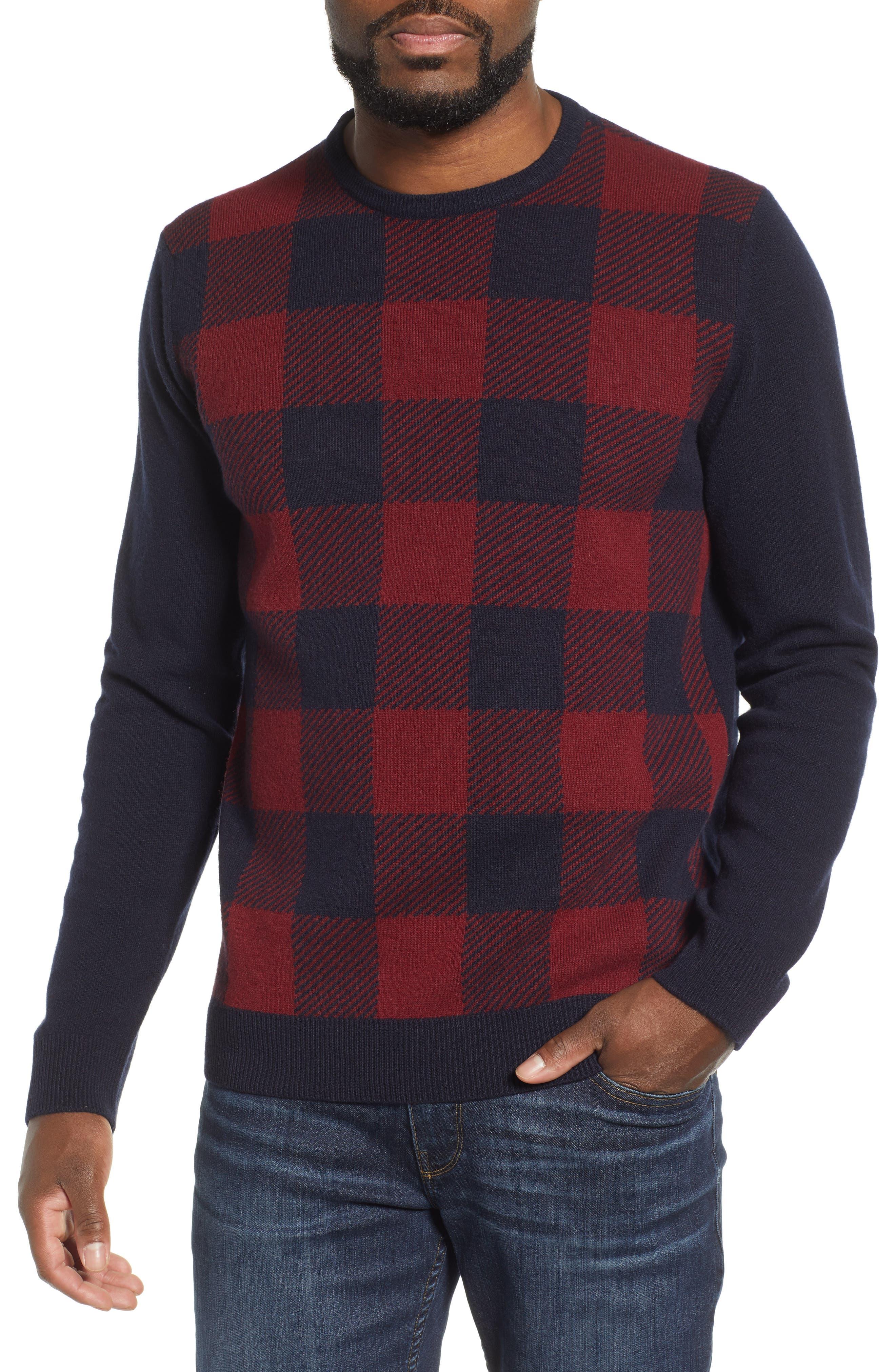 Barbour Buffalo Check Crewneck Sweater, Blue