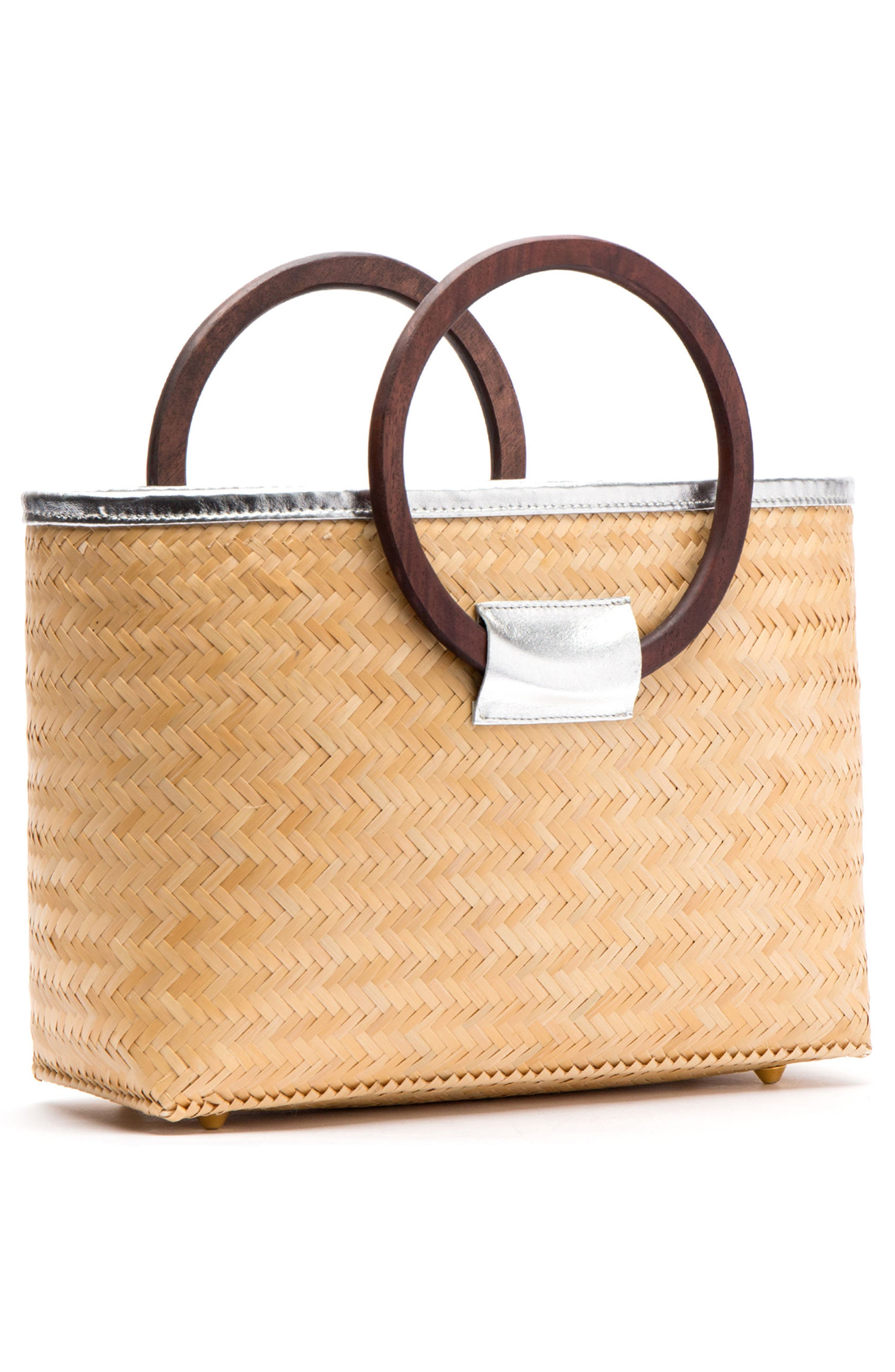 Large Woven Bamboo Shopper,                             Alternate thumbnail 3, color,