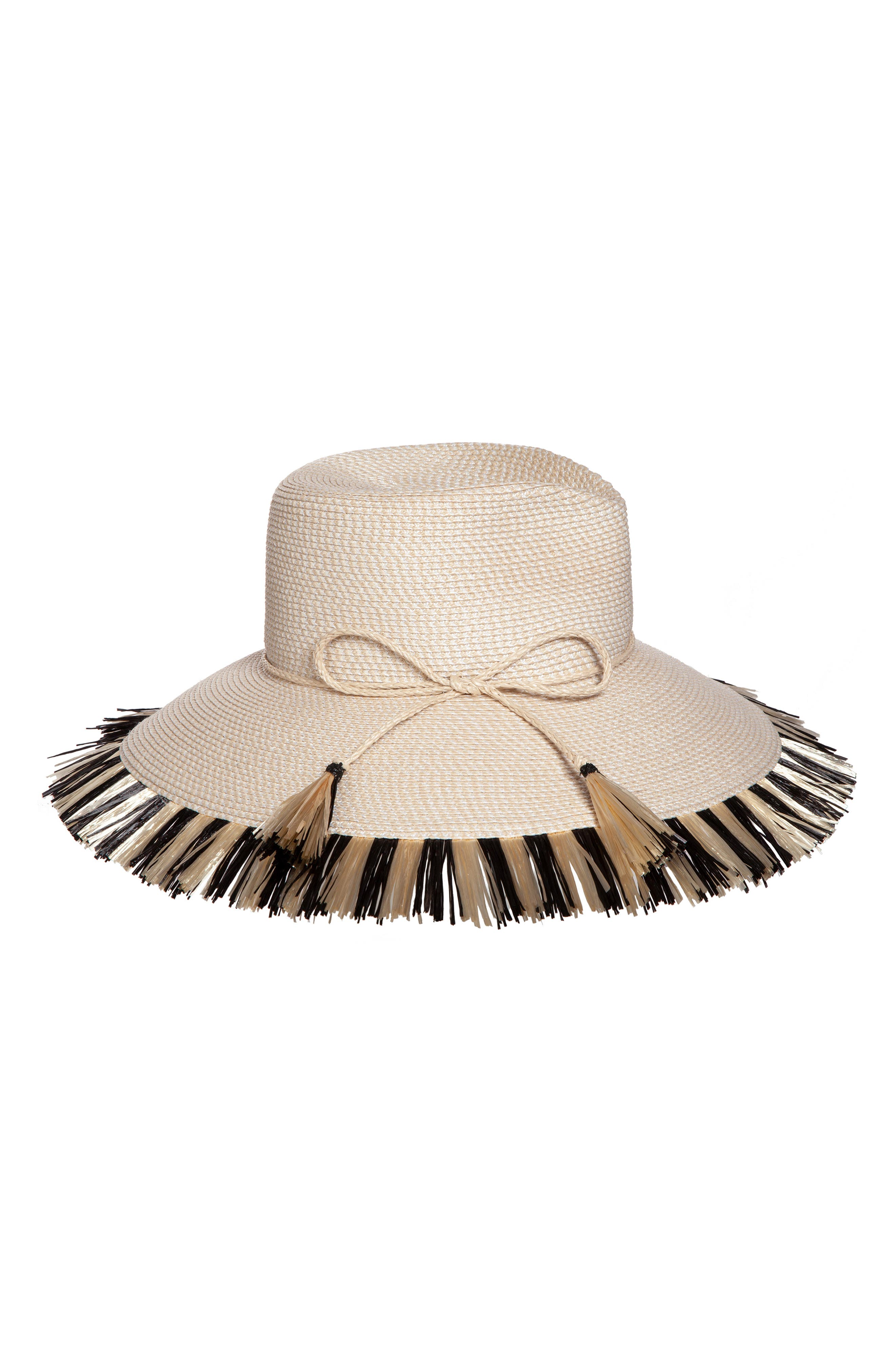 d69ff058e59 Eric Javits Antigua Squishee Tropical Sun Hat - Black In Cream  Black ...
