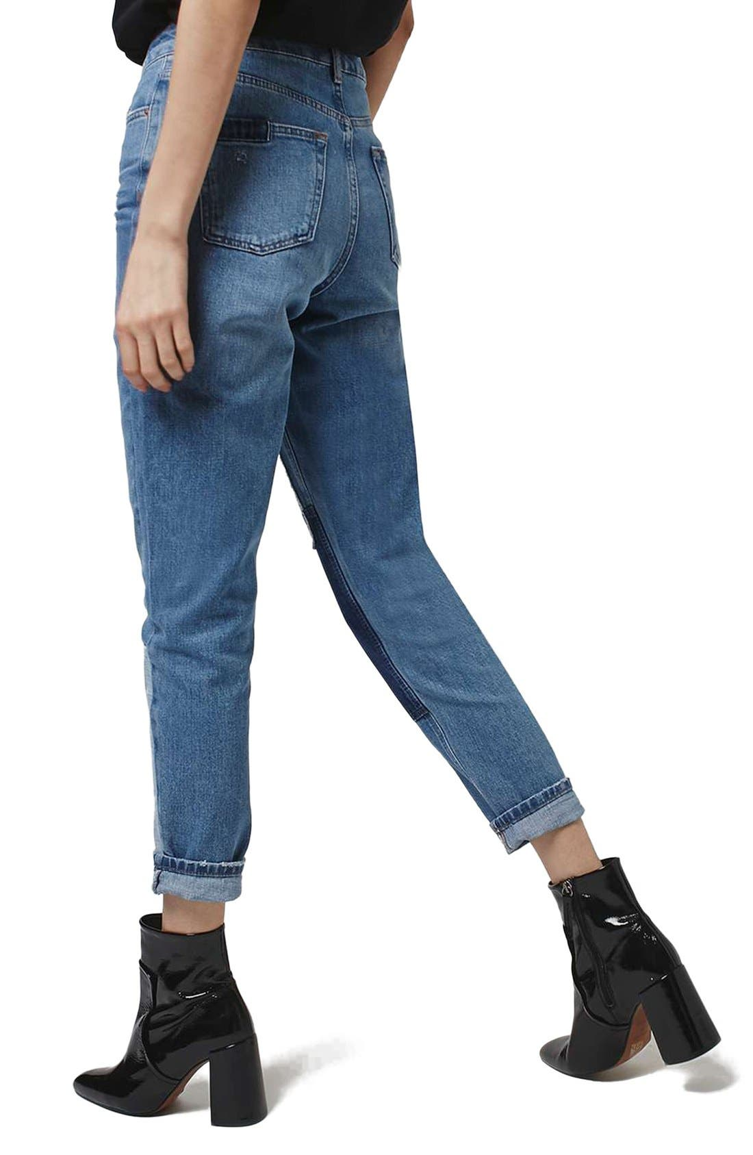 Mom Patchwork High Rise Jeans,                             Alternate thumbnail 5, color,                             400