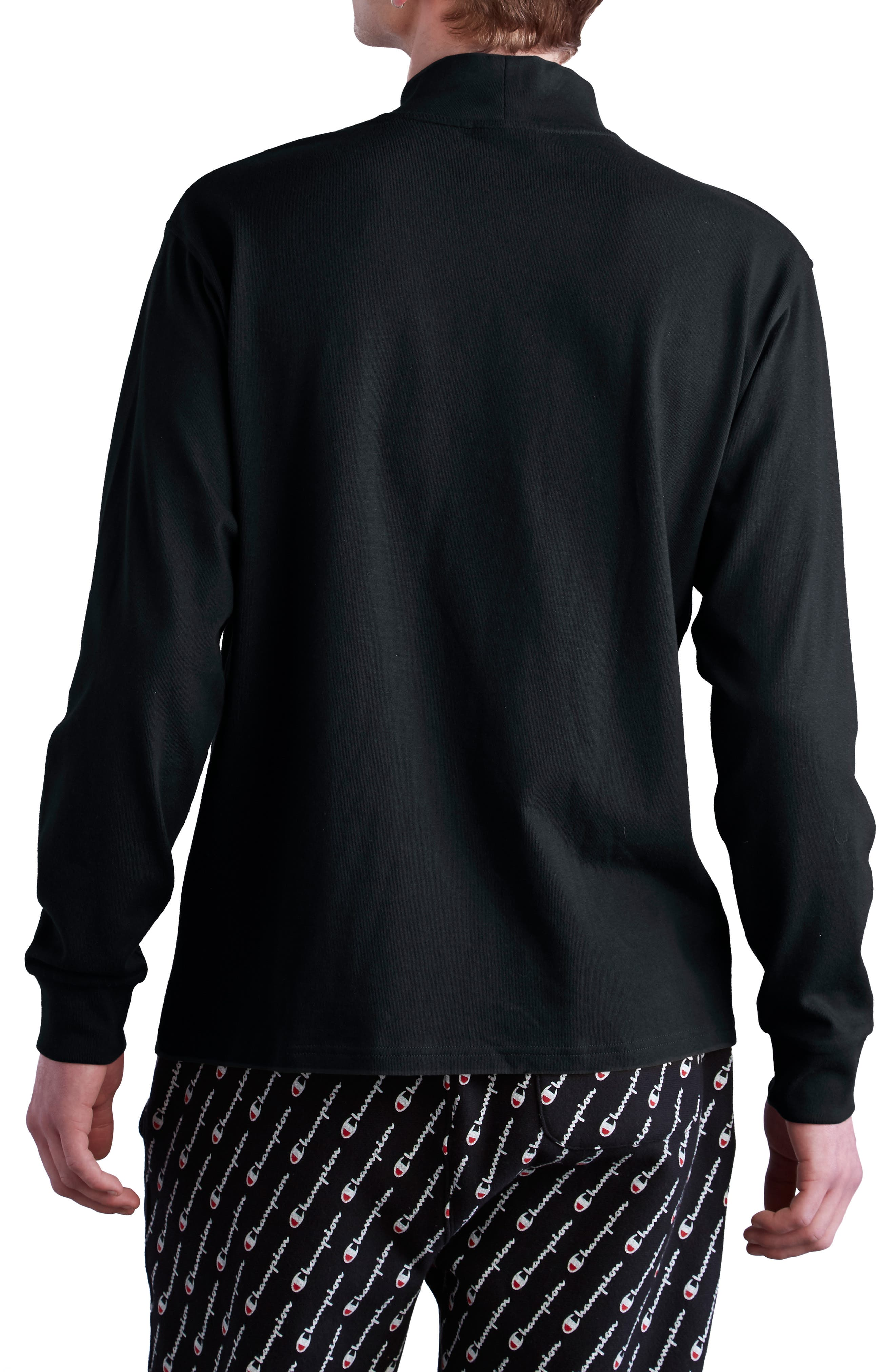 Heavyweight Mock Neck T-Shirt,                             Alternate thumbnail 2, color,                             BLACK