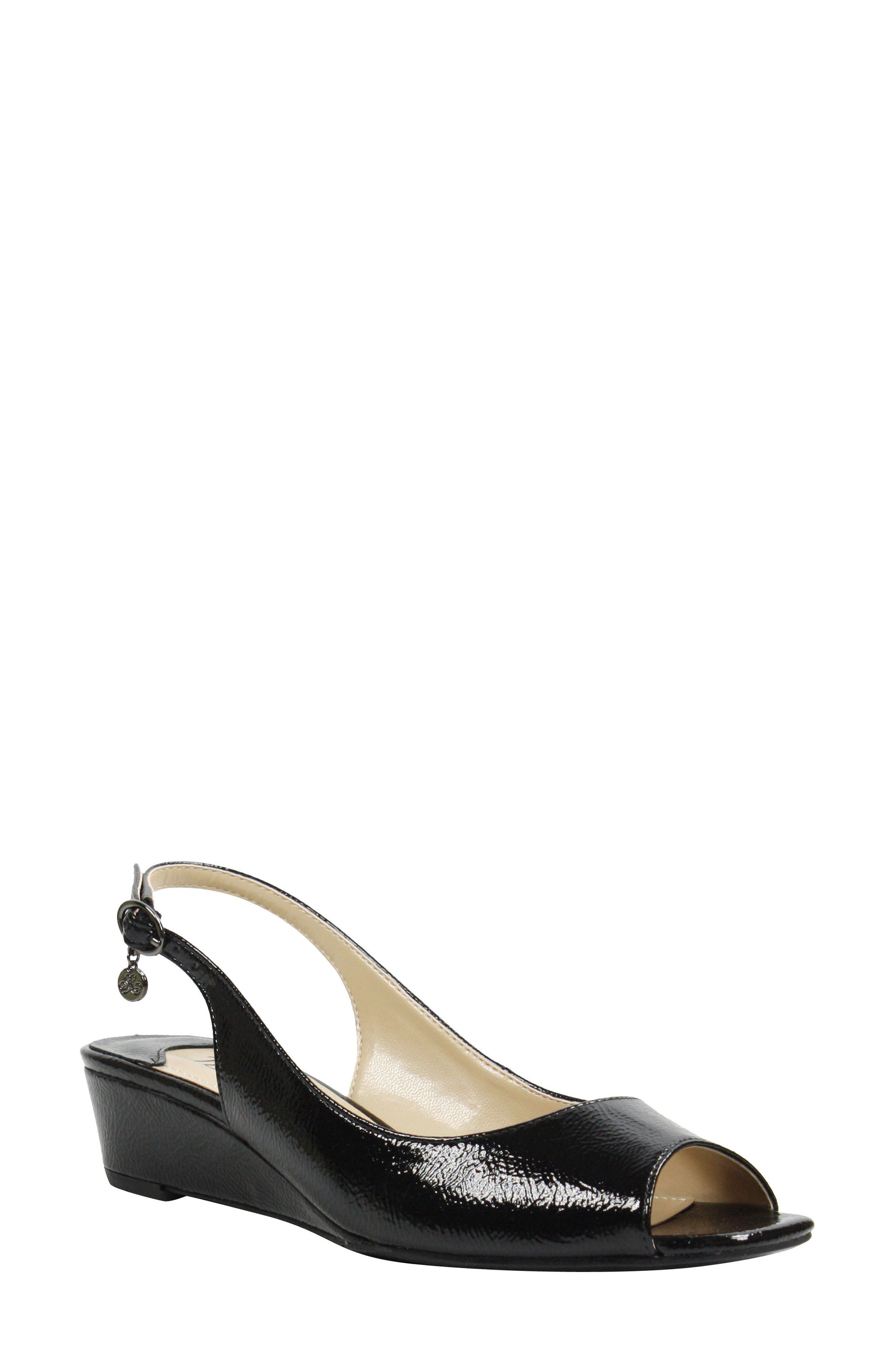 Alivia Slingback Sandal,                         Main,                         color, BLACK CRINKLE FAUX LEATHER