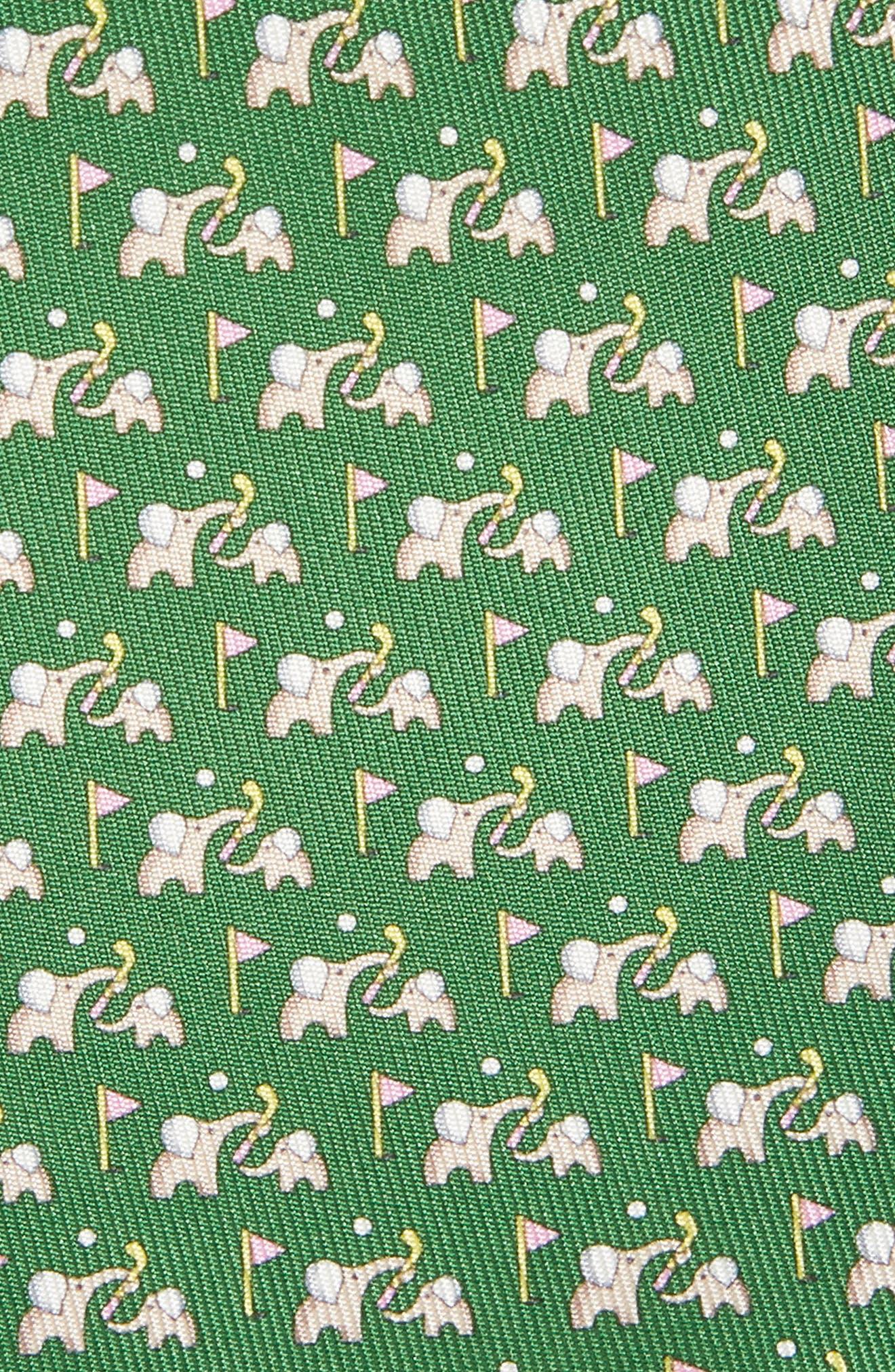 Erede Elephant Print Silk Tie,                             Alternate thumbnail 2, color,                             GREEN