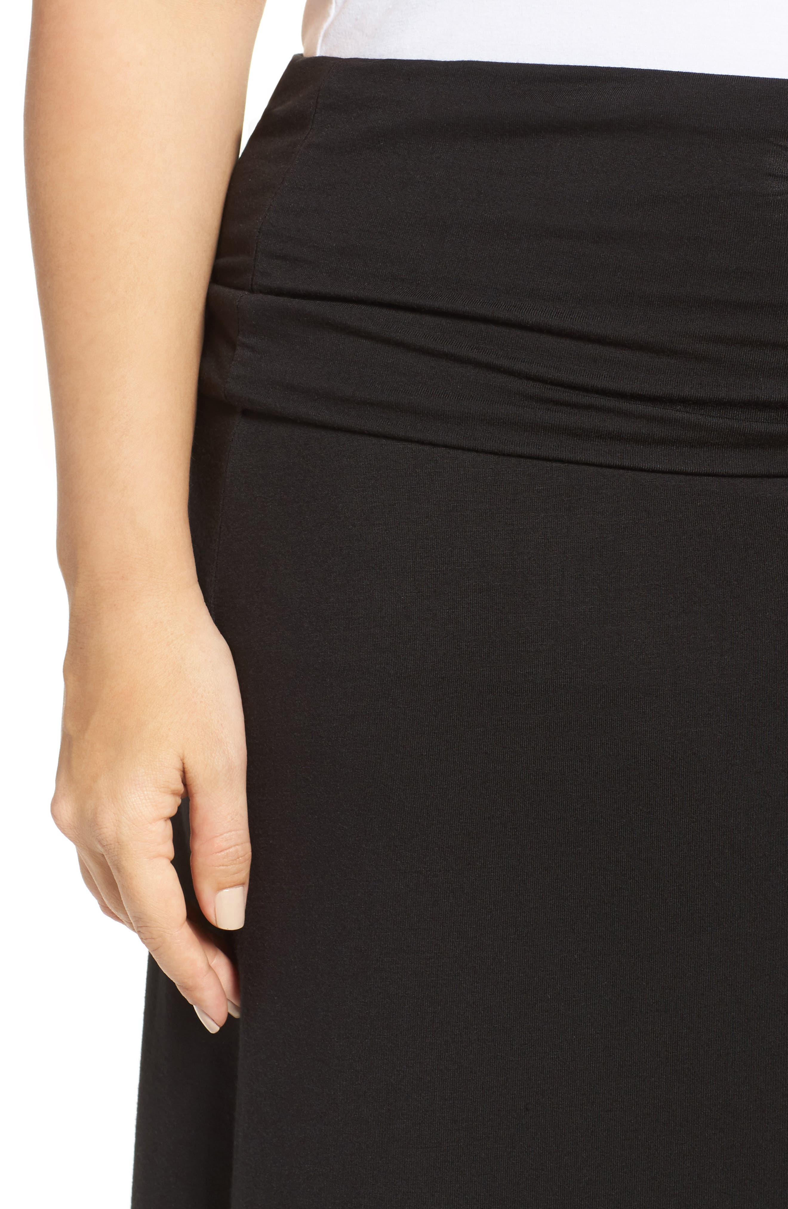 Fold Over Maxi Skirt,                             Alternate thumbnail 4, color,                             BLACK