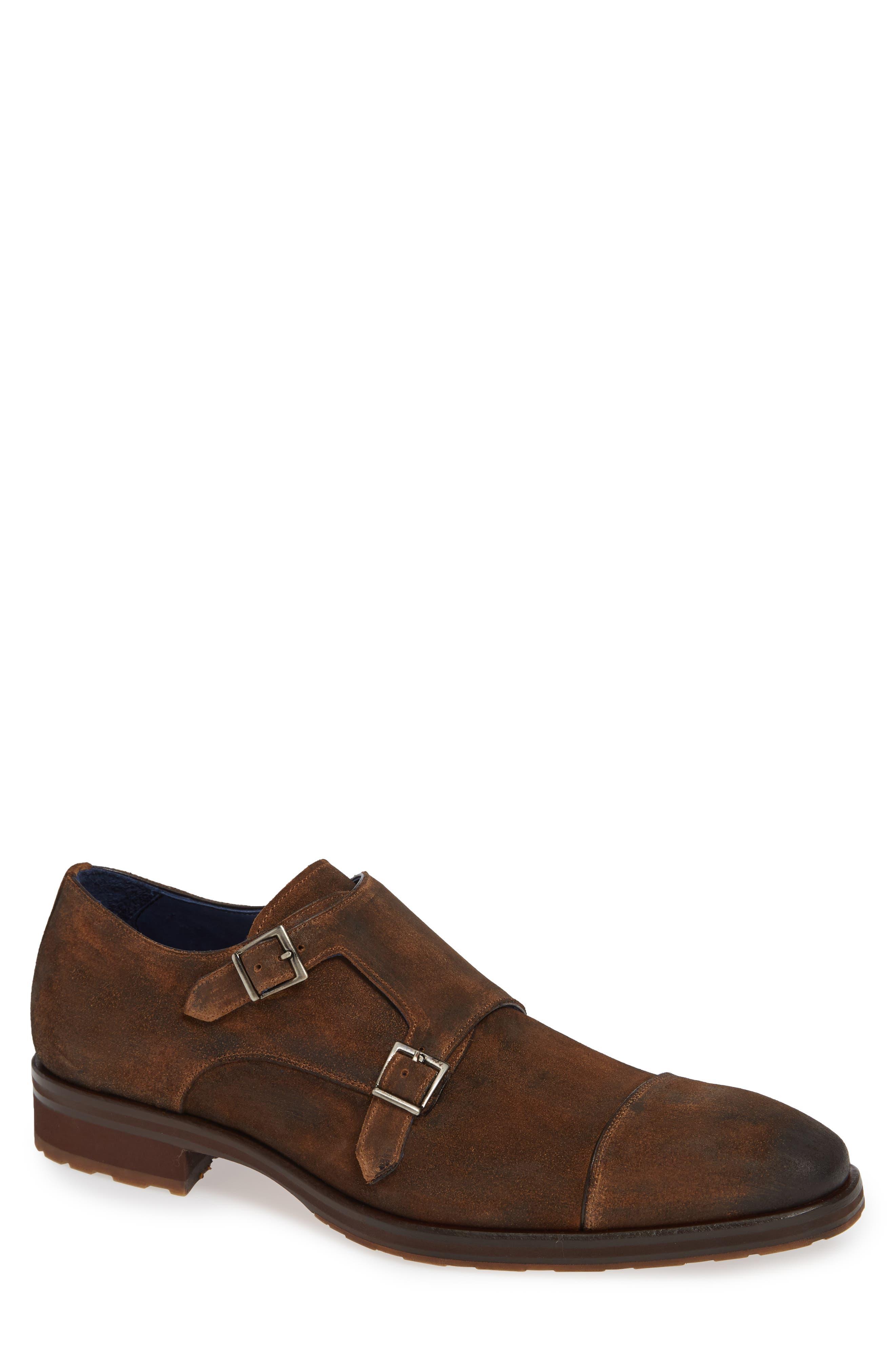 Miguel Double Monk Strap Shoe,                             Main thumbnail 1, color,                             TAN SUEDE