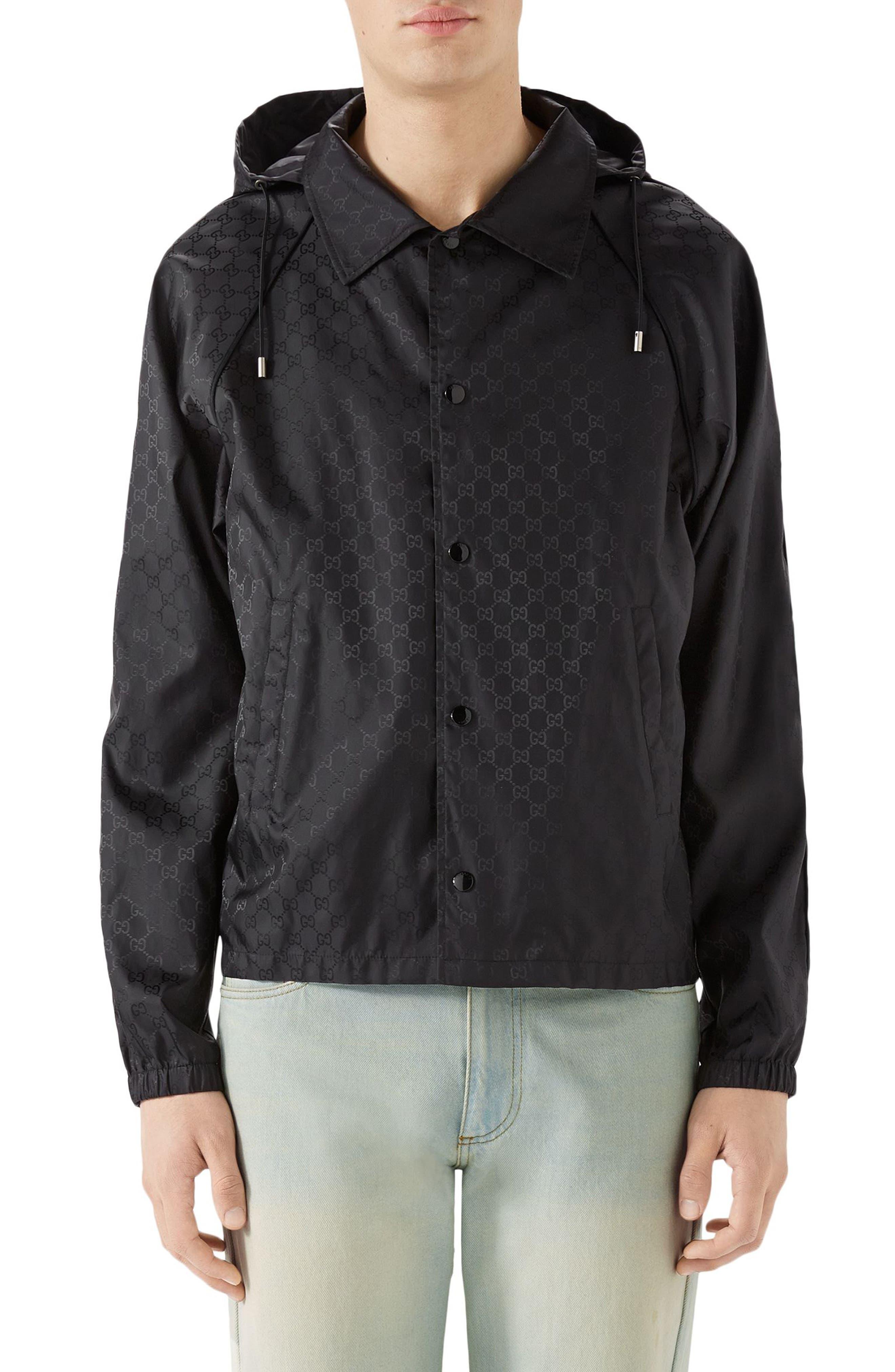 GG Jacquard Print Nylon Jacket,                         Main,                         color, BLACK