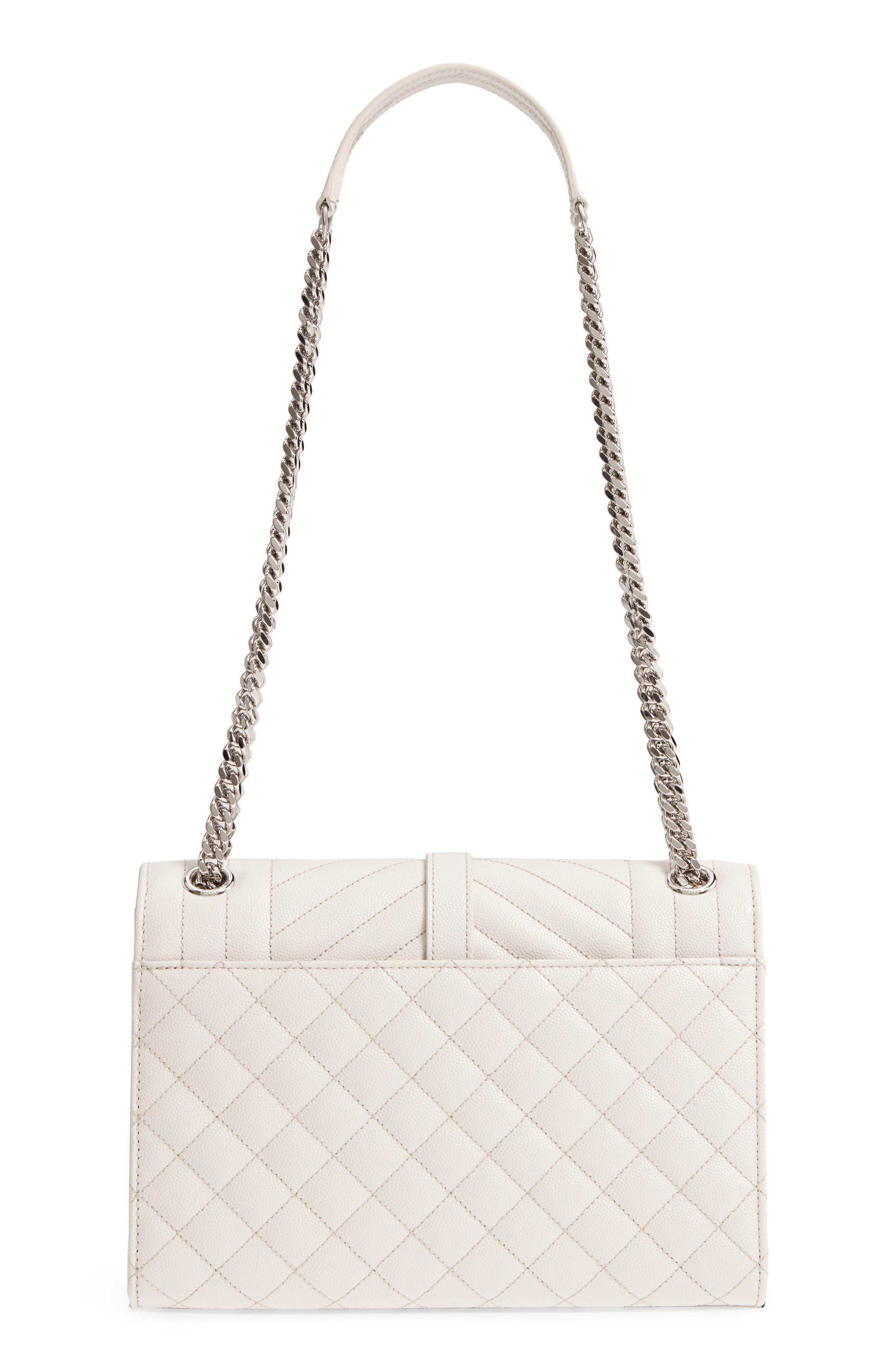 Medium Cassandra Calfskin Shoulder Bag,                             Alternate thumbnail 3, color,                             ICY WHITE/ ICY WHITE