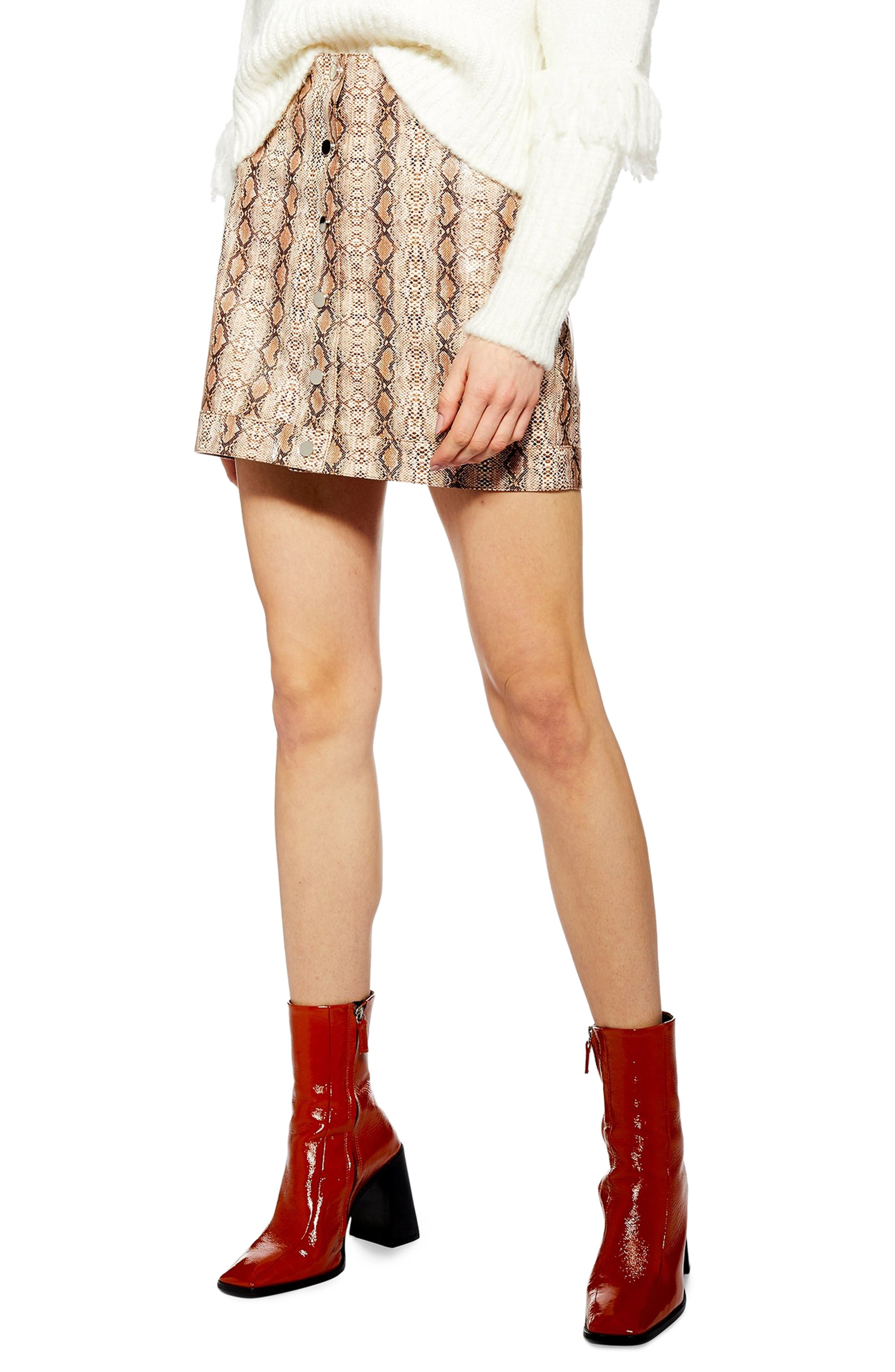 Topshop Dixie Faux Leather Miniskirt, US (fits like 0-2) - Brown