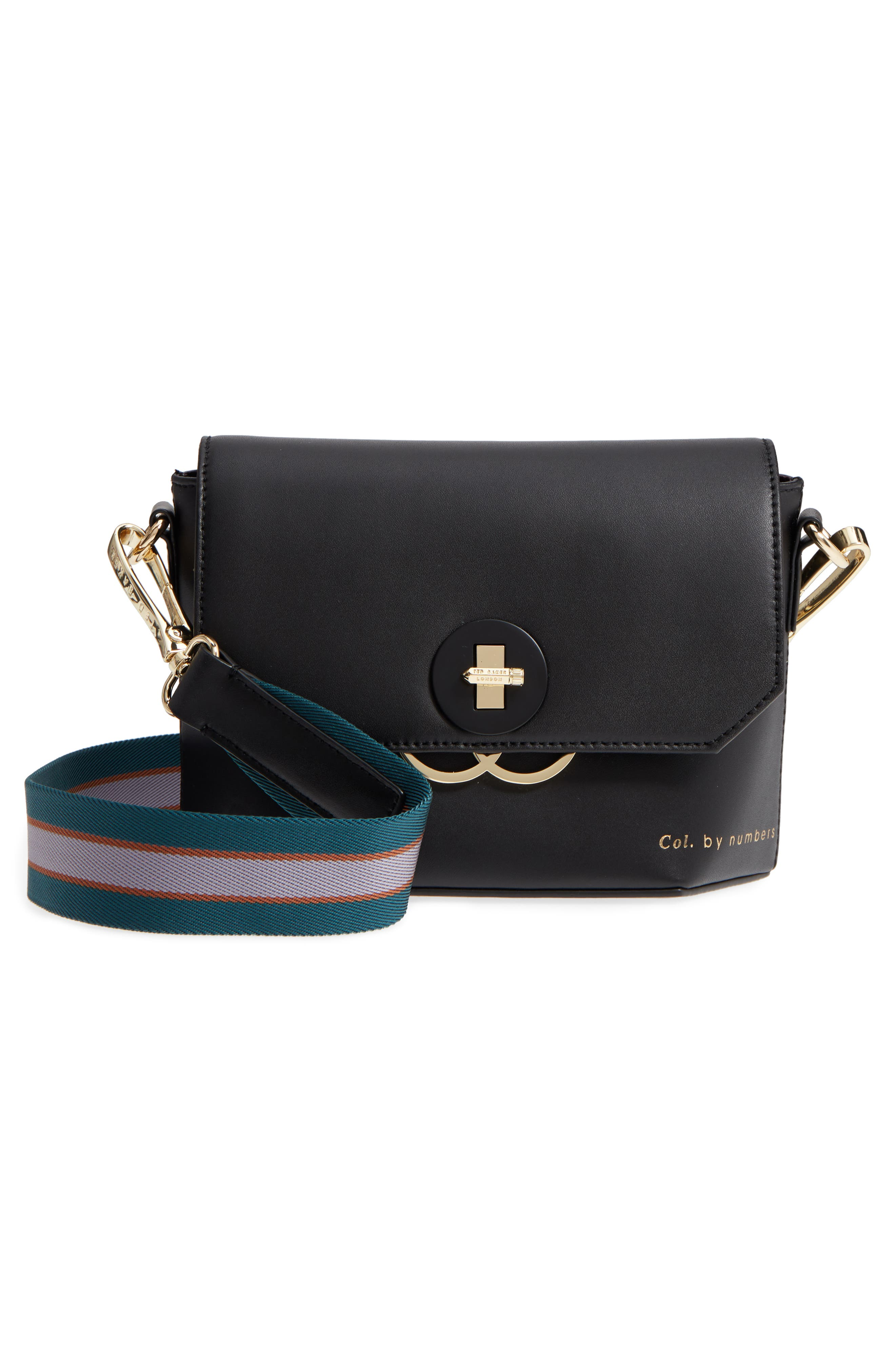 Colour by Numbers Leather Crossbody Bag,                             Alternate thumbnail 3, color,                             001