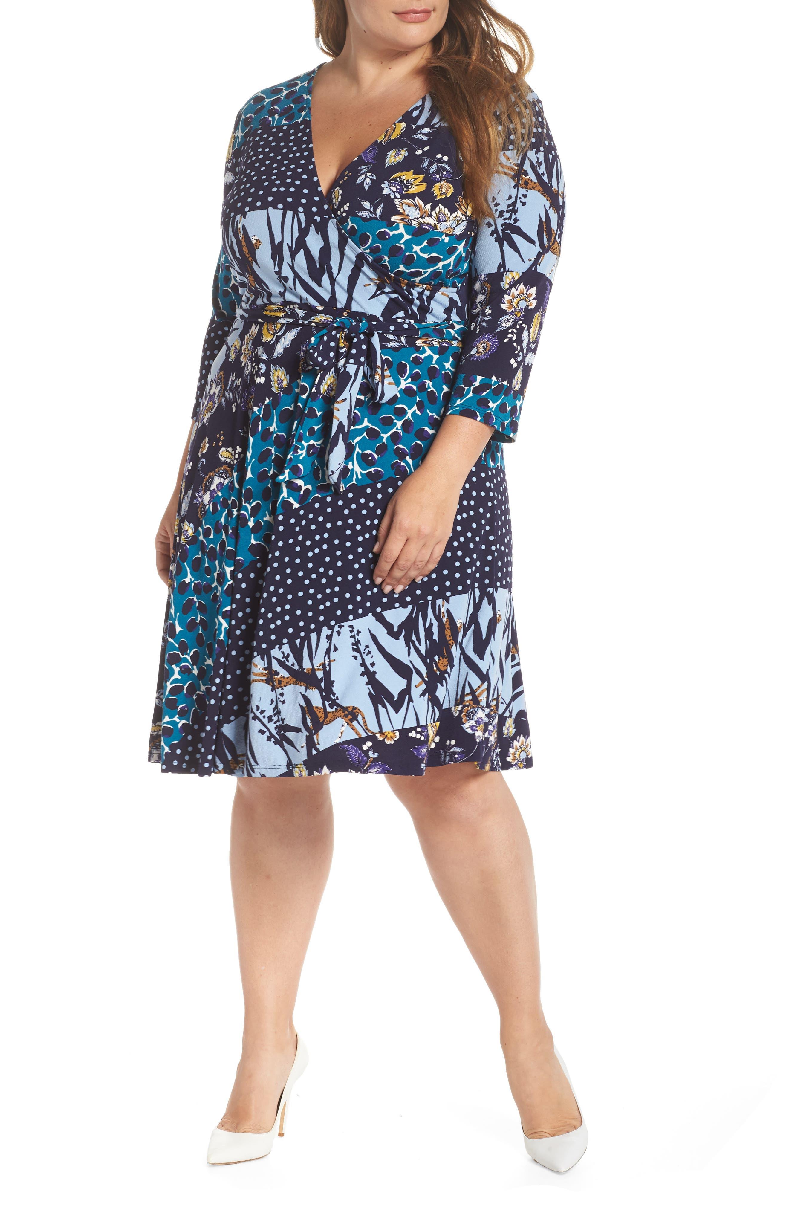 LEOTA Wrap Dress in Herringbone-Black