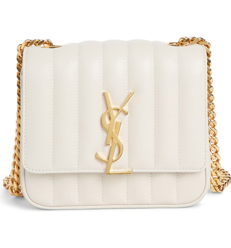 Saint Laurent Vicky Monogram Ysl Small Quilted Leather Crossbody Bag In  Cremasoft 951db3708879e