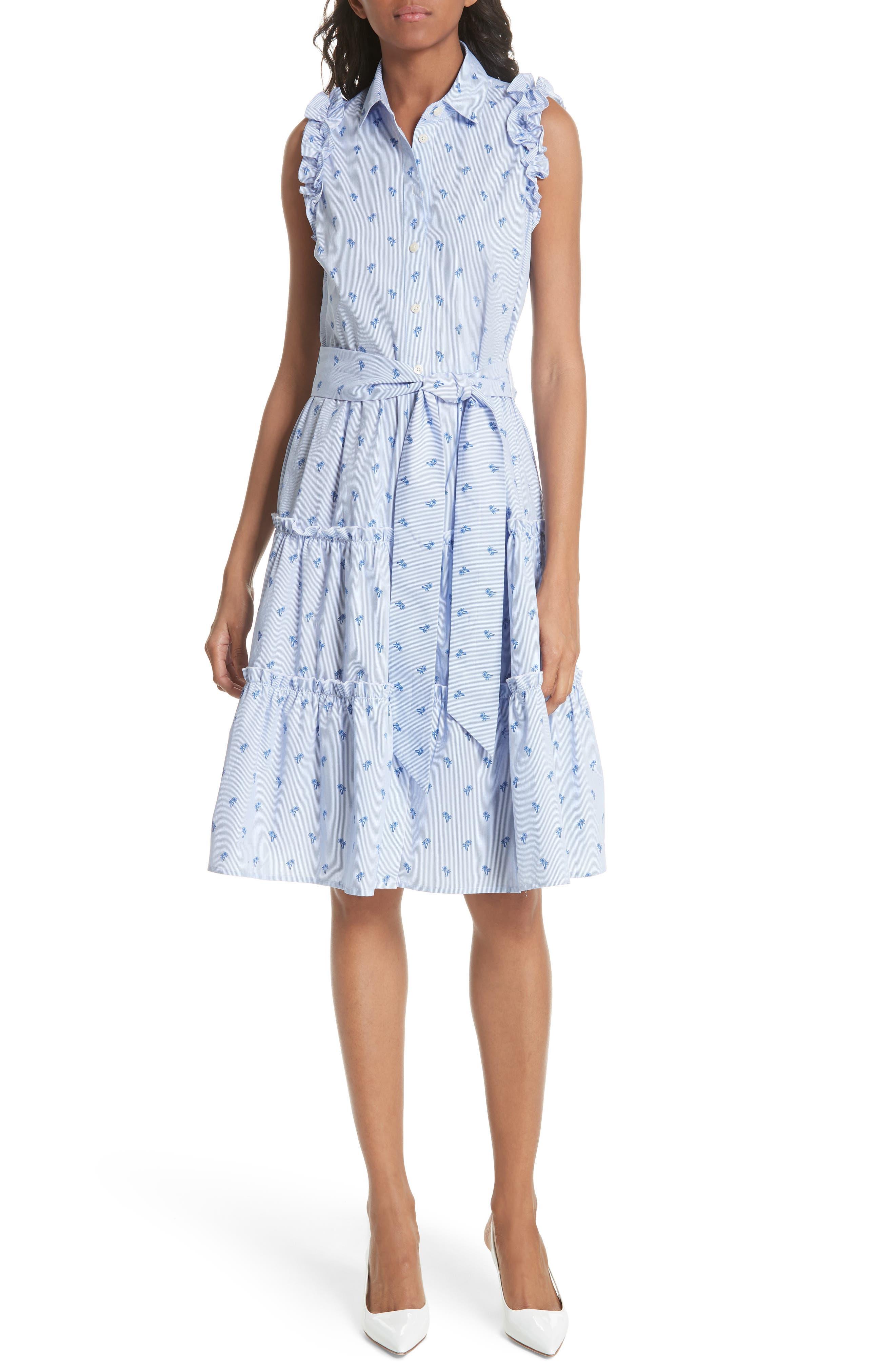 palm tree pinstripe sleeveless cotton dress,                         Main,                         color, 436