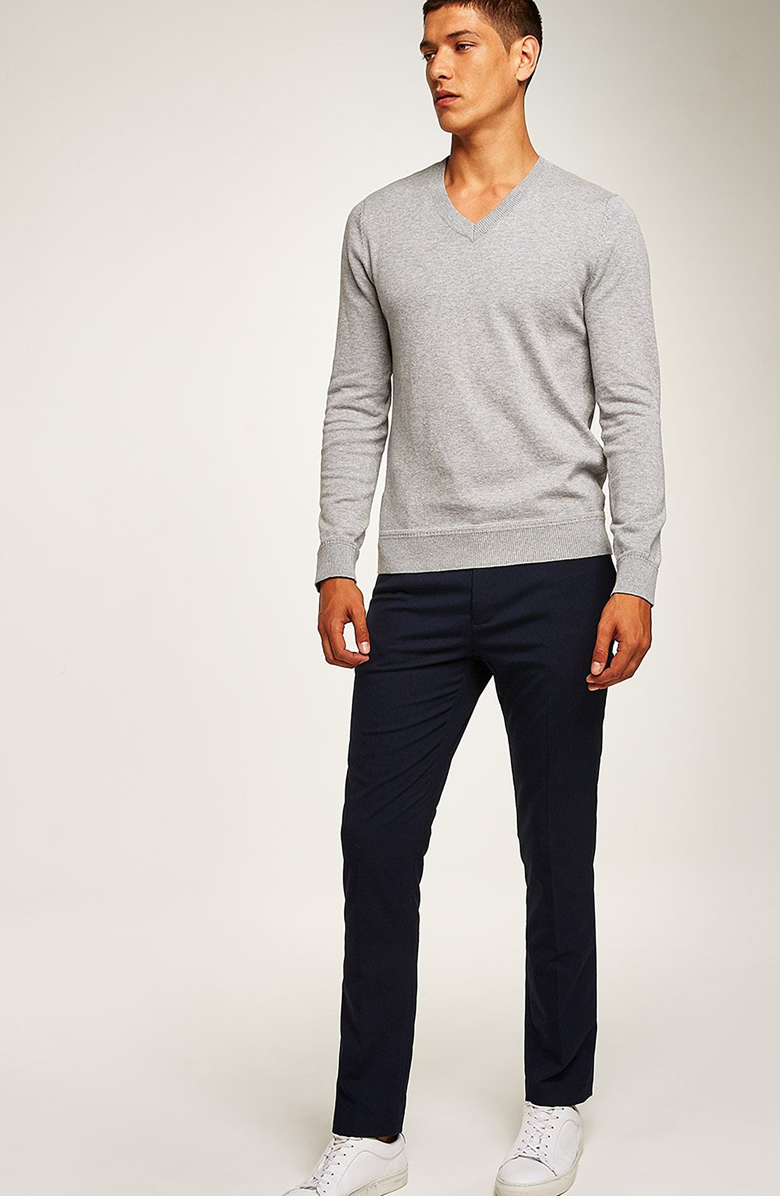 Classic V-Neck Sweater,                             Alternate thumbnail 5, color,                             GREY