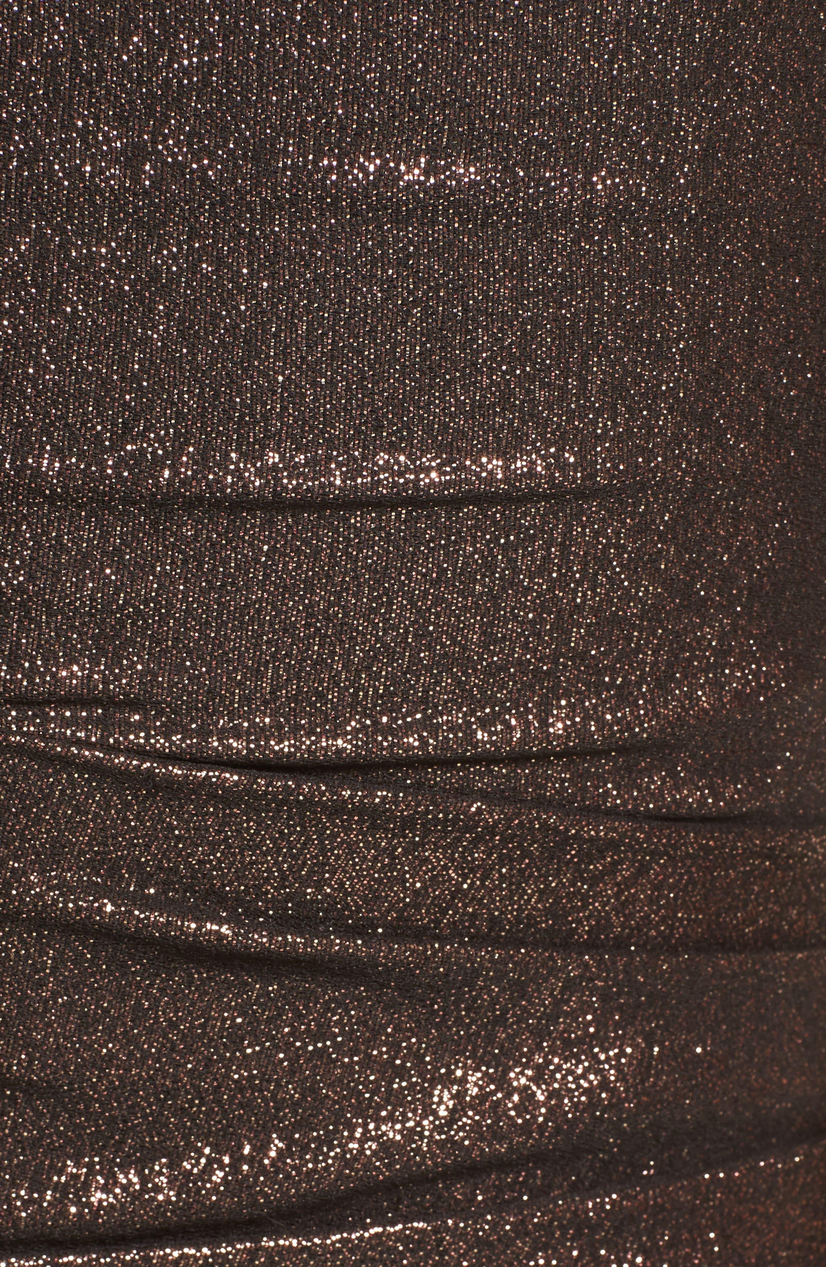 Glitter Knit Asymmetrical Mermaid Gown,                             Alternate thumbnail 6, color,                             COPPER