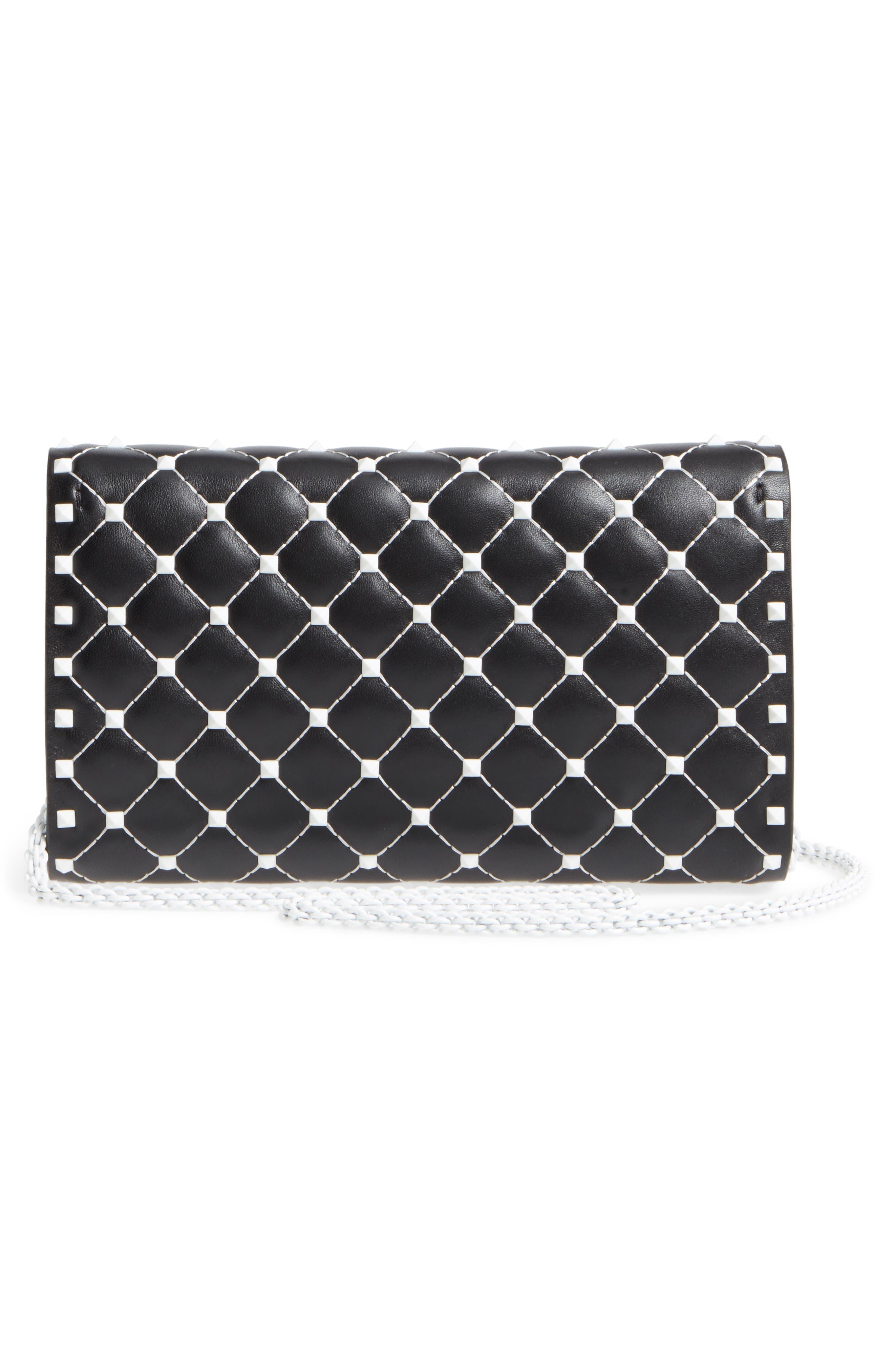 Rockstud Matelassé Leather Shoulder Bag,                             Alternate thumbnail 3, color,                             001