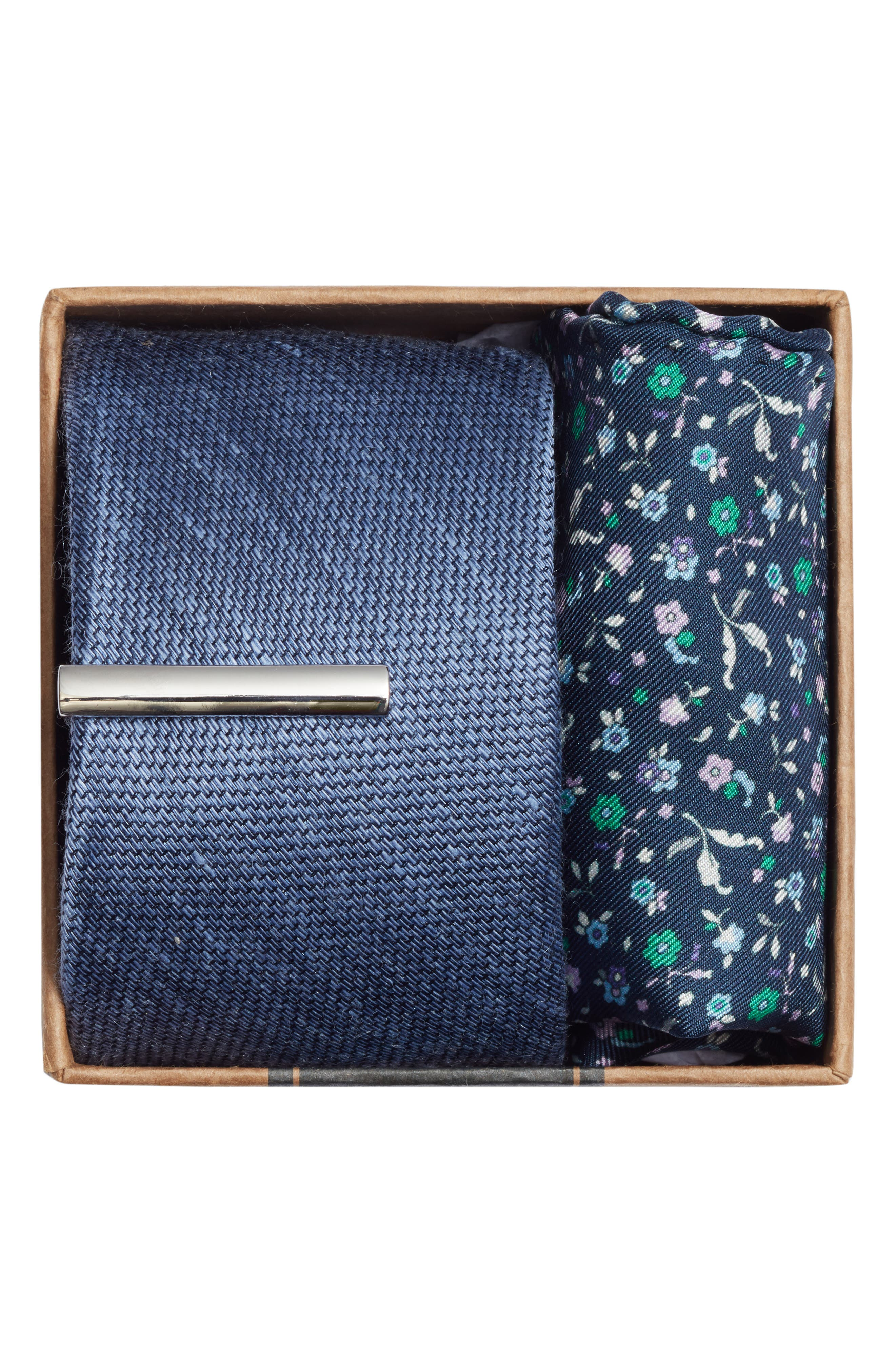 Texture Solid 3-Piece Skinny Tie Style Box,                             Alternate thumbnail 2, color,                             LIGHT BLUE