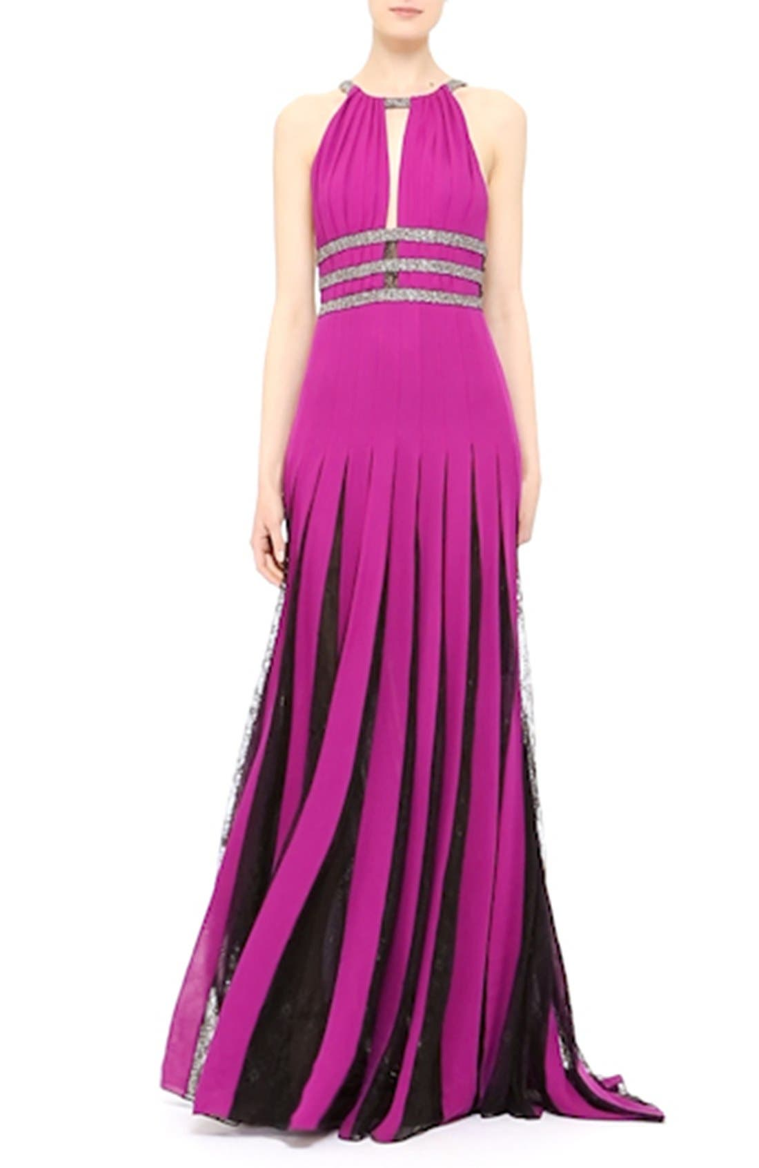 Couture Silk Halter Gown with Lace Pleats,                             Alternate thumbnail 3, color,