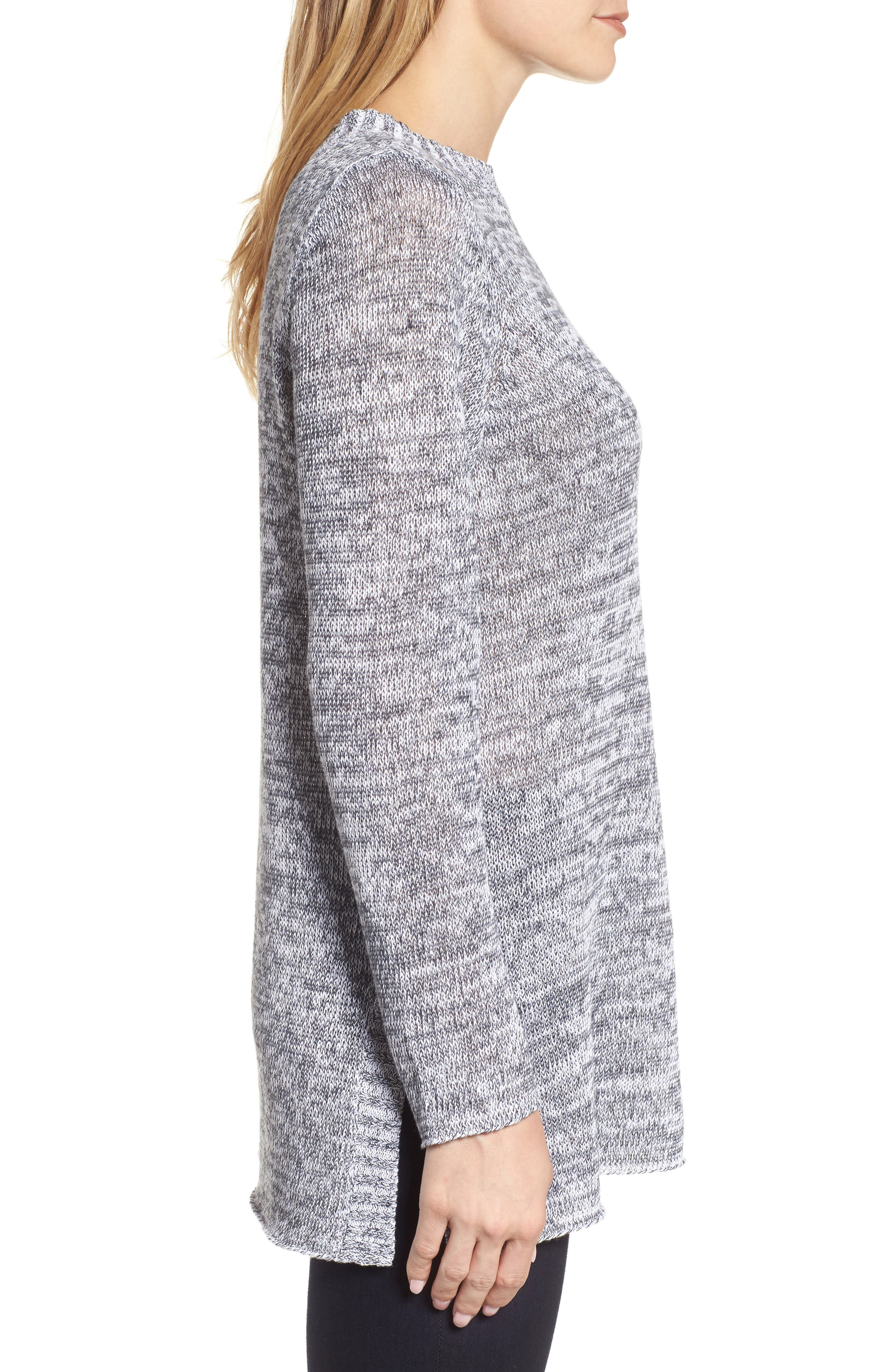 Organic Linen Crewneck Sweater,                             Alternate thumbnail 3, color,