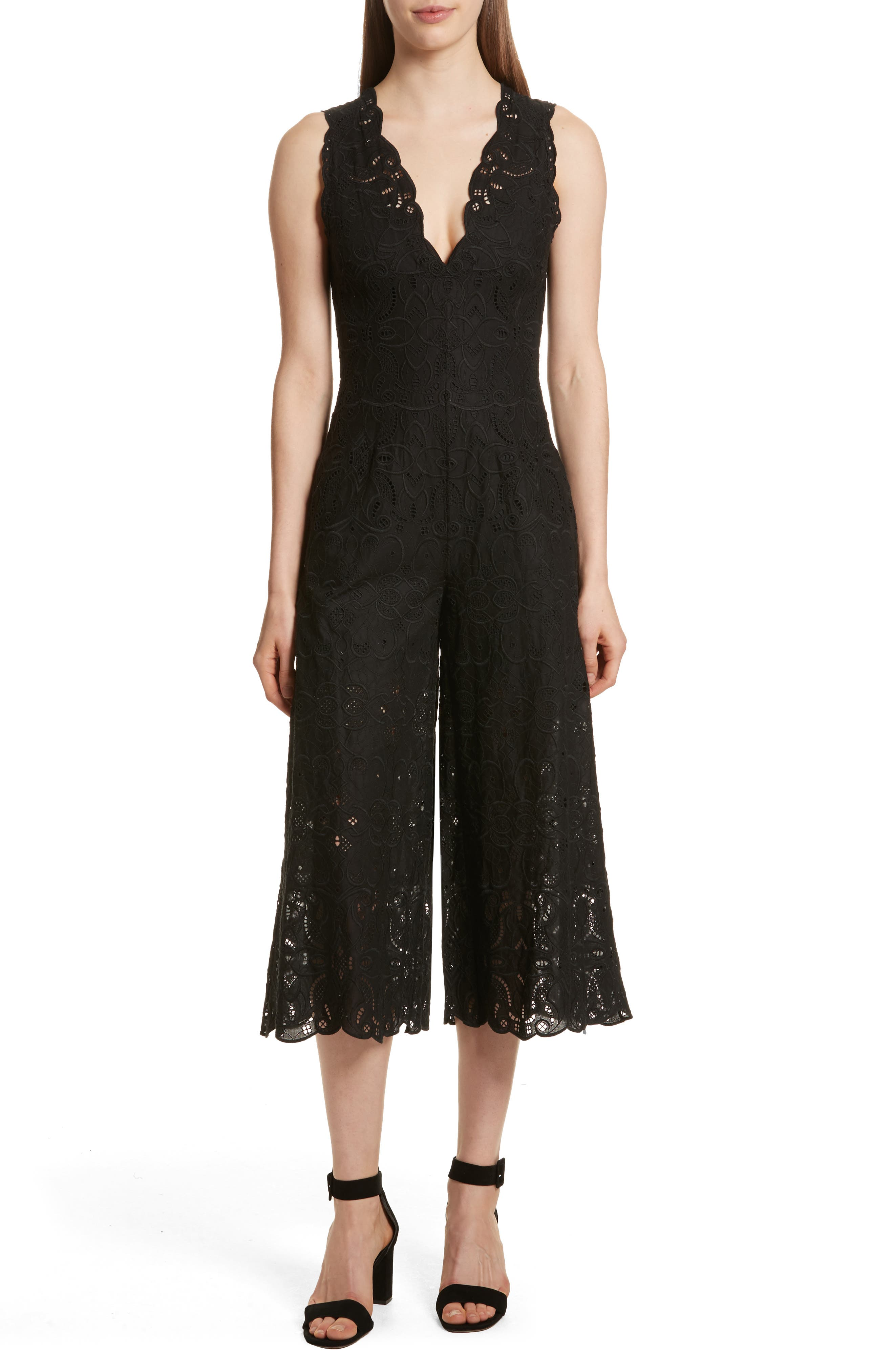 Scallop Edge Embroidered Jumpsuit,                             Main thumbnail 1, color,                             001