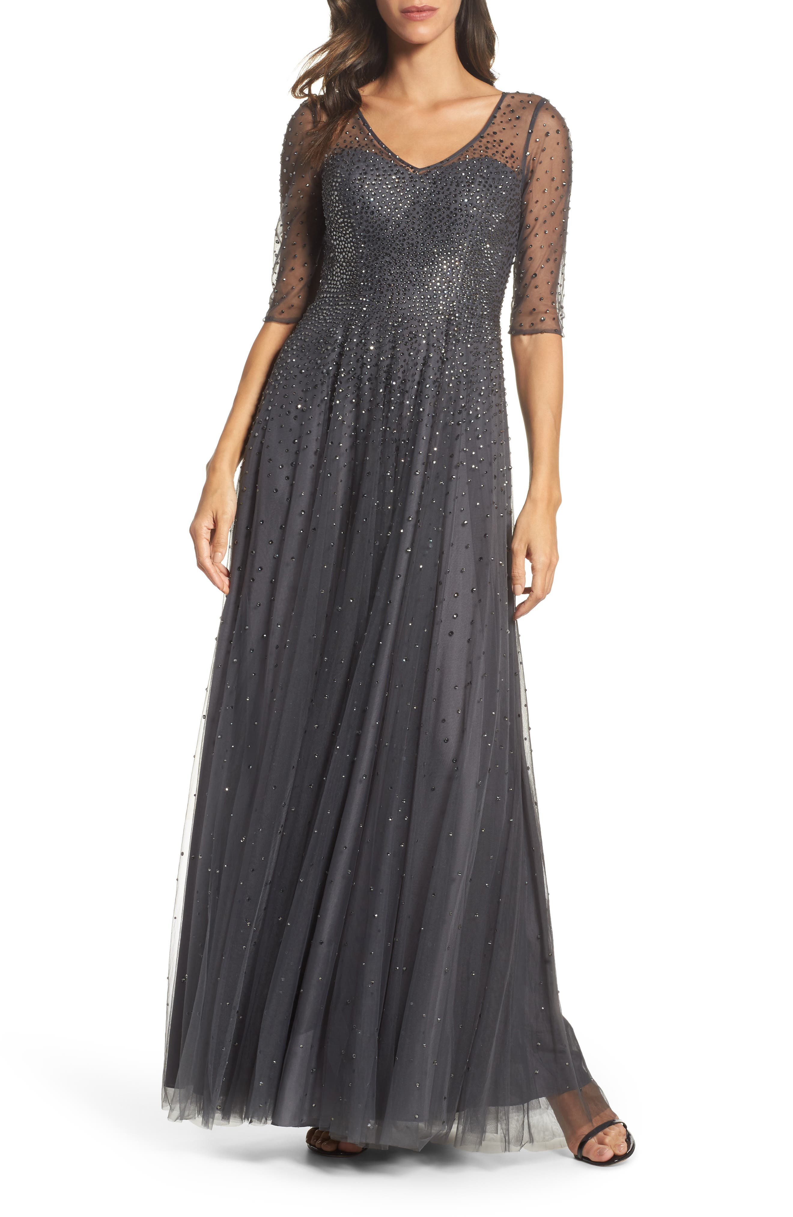 La Femme Waterfall Embellished Gown, Grey