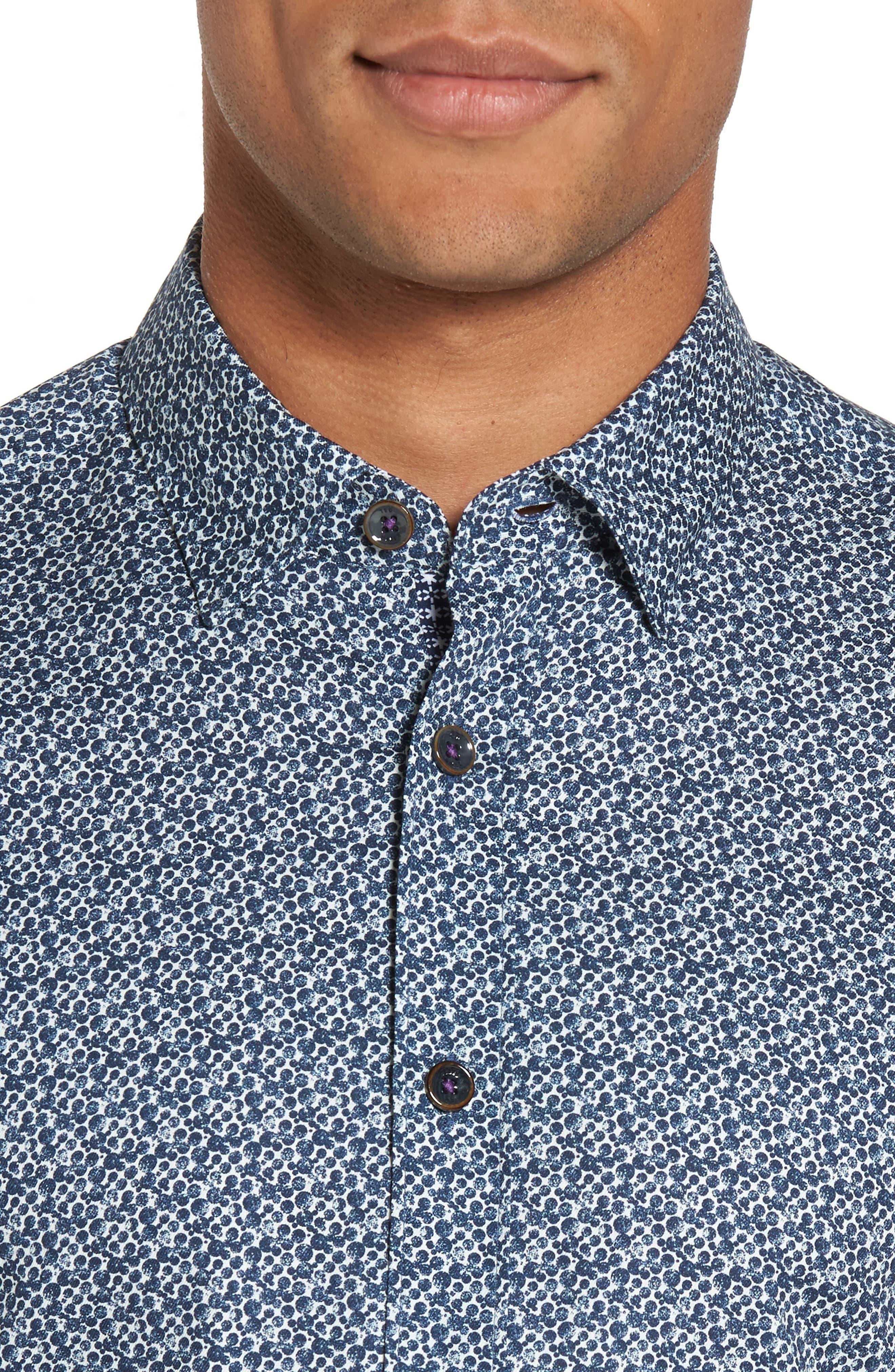 Bubbly Extra Slim Fit Print Sport Shirt,                             Alternate thumbnail 4, color,                             410