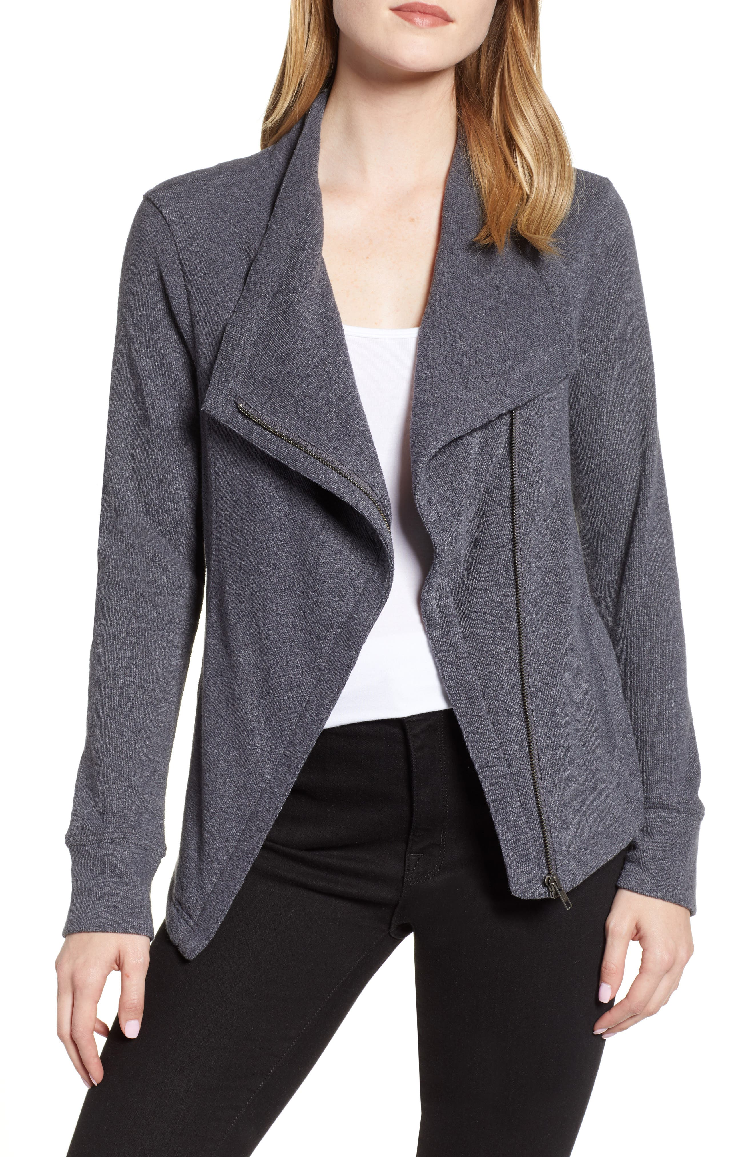 CASLON<SUP>®</SUP> Knit Moto Jacket, Main, color, GREY EBONY