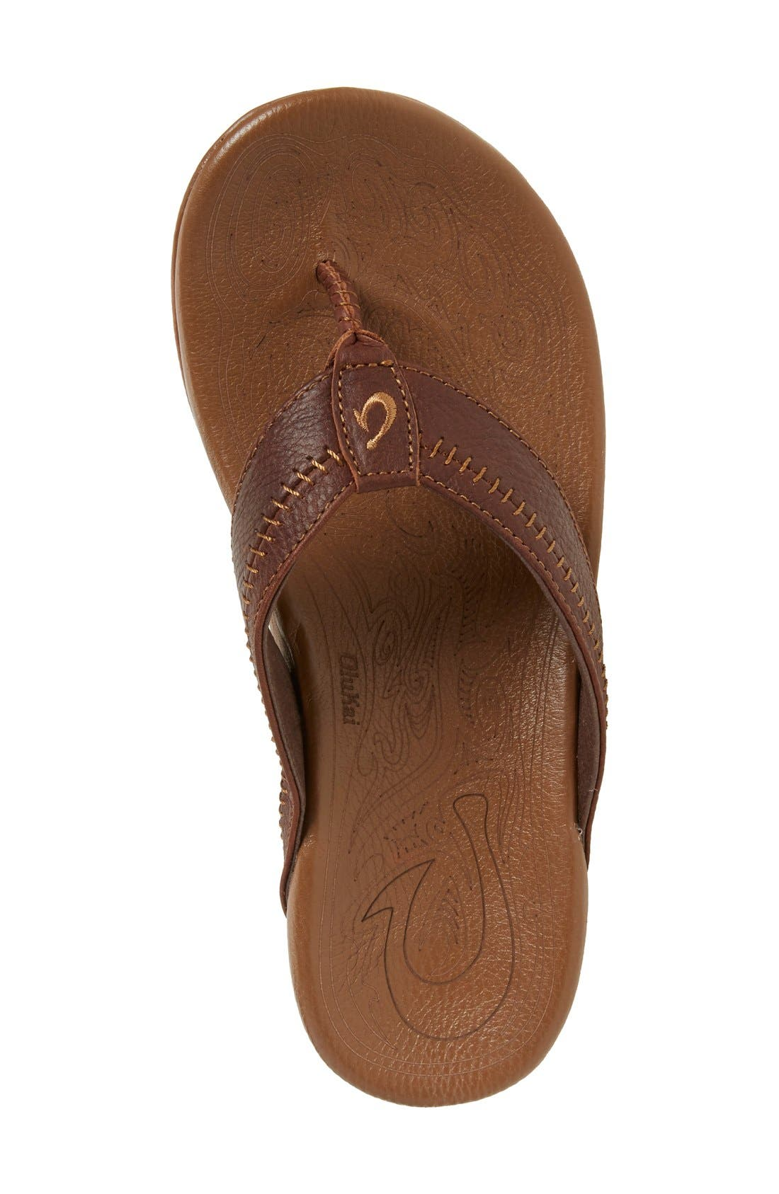 'Hiapo' Flip Flop,                             Alternate thumbnail 4, color,                             DARK JAVA TOFFEE