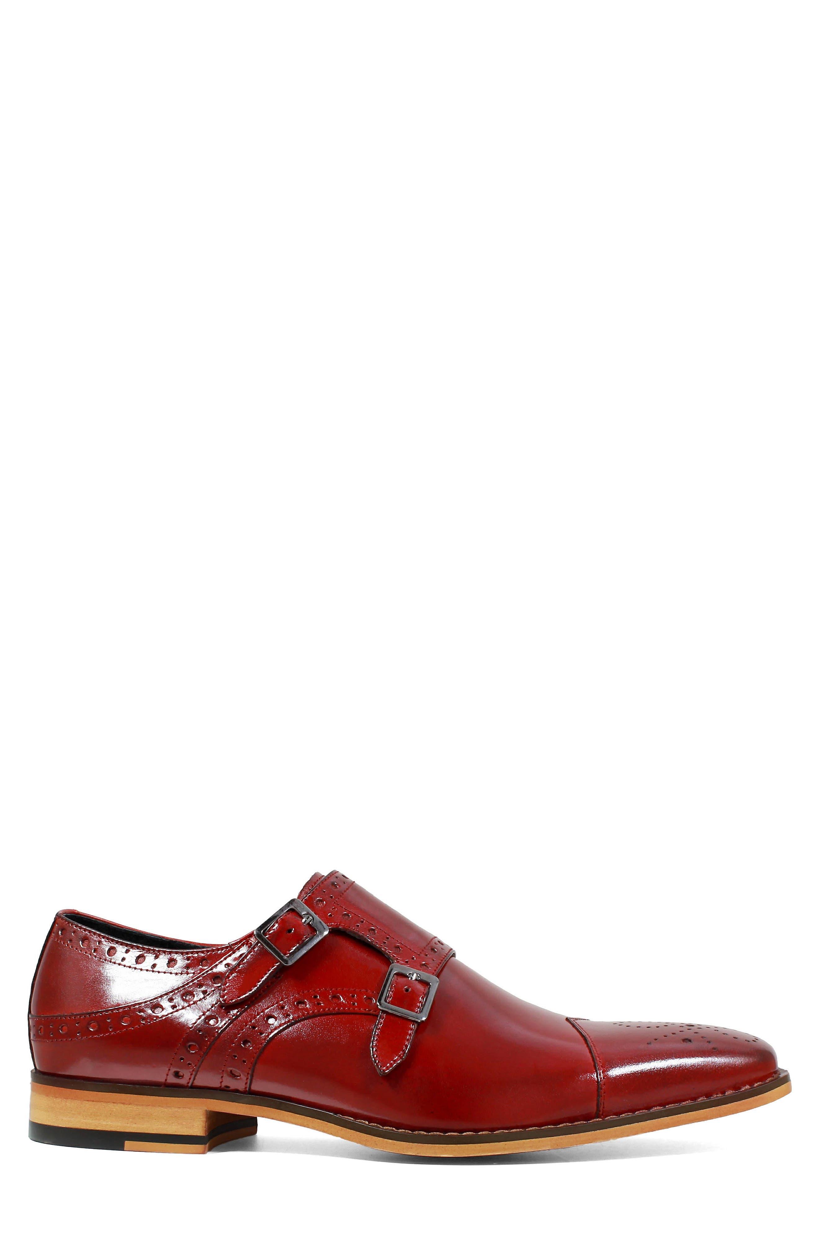 Tayton Cap Toe Double Strap Monk Shoe,                             Alternate thumbnail 3, color,                             RED LEATHER