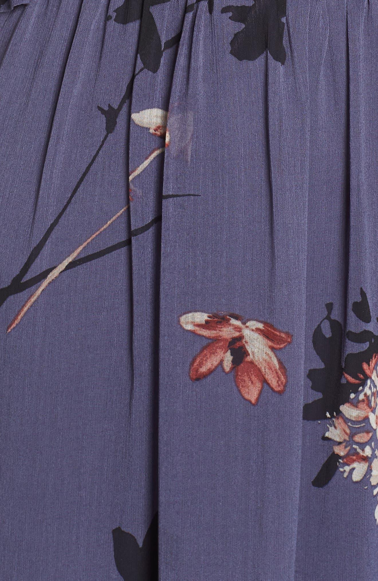 Floral Chiffon Midi Dress,                             Alternate thumbnail 7, color,                             BLUE MULTI