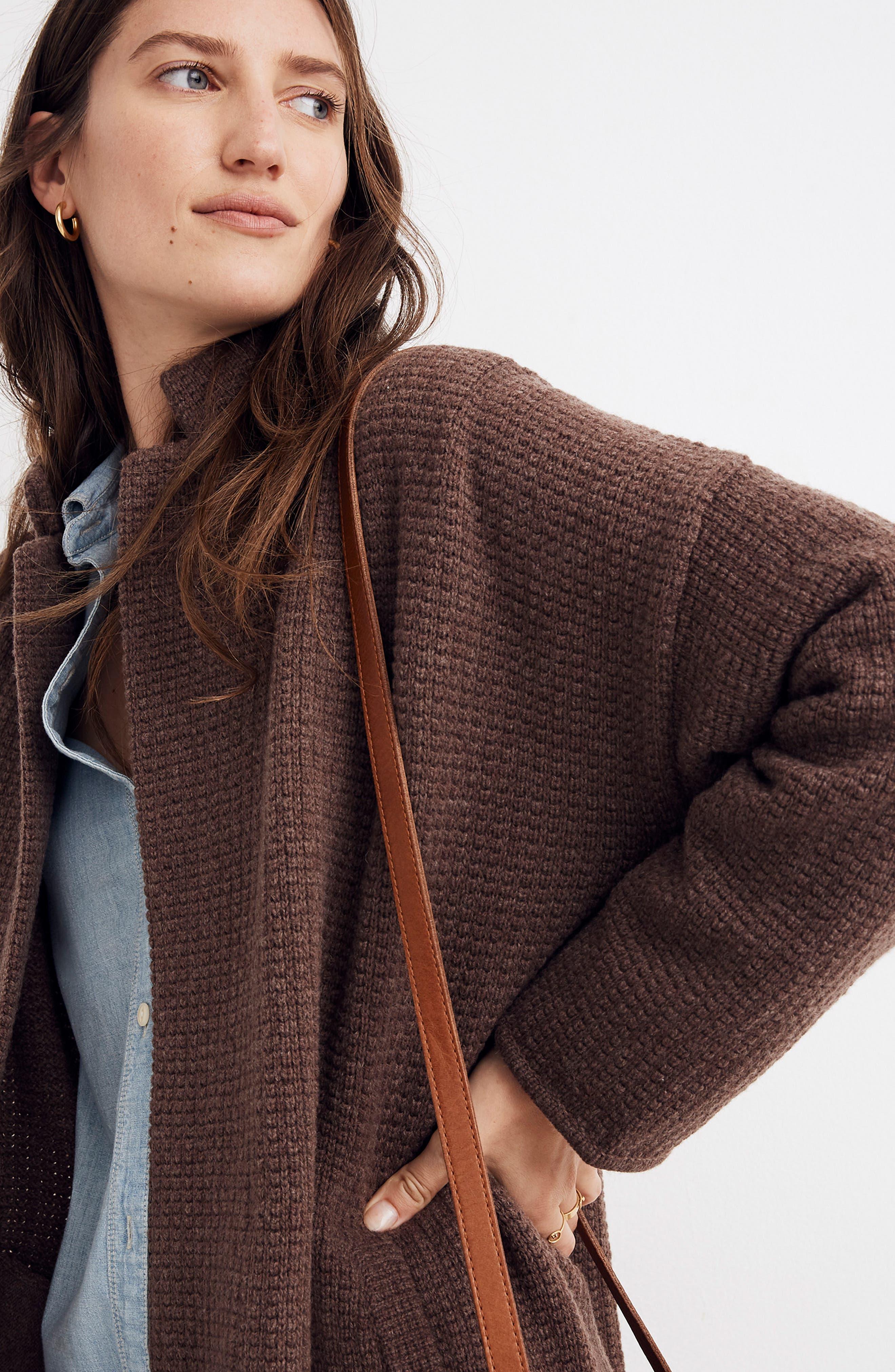 Chilton Sweater Coat,                             Alternate thumbnail 5, color,                             HEATHER COCOA