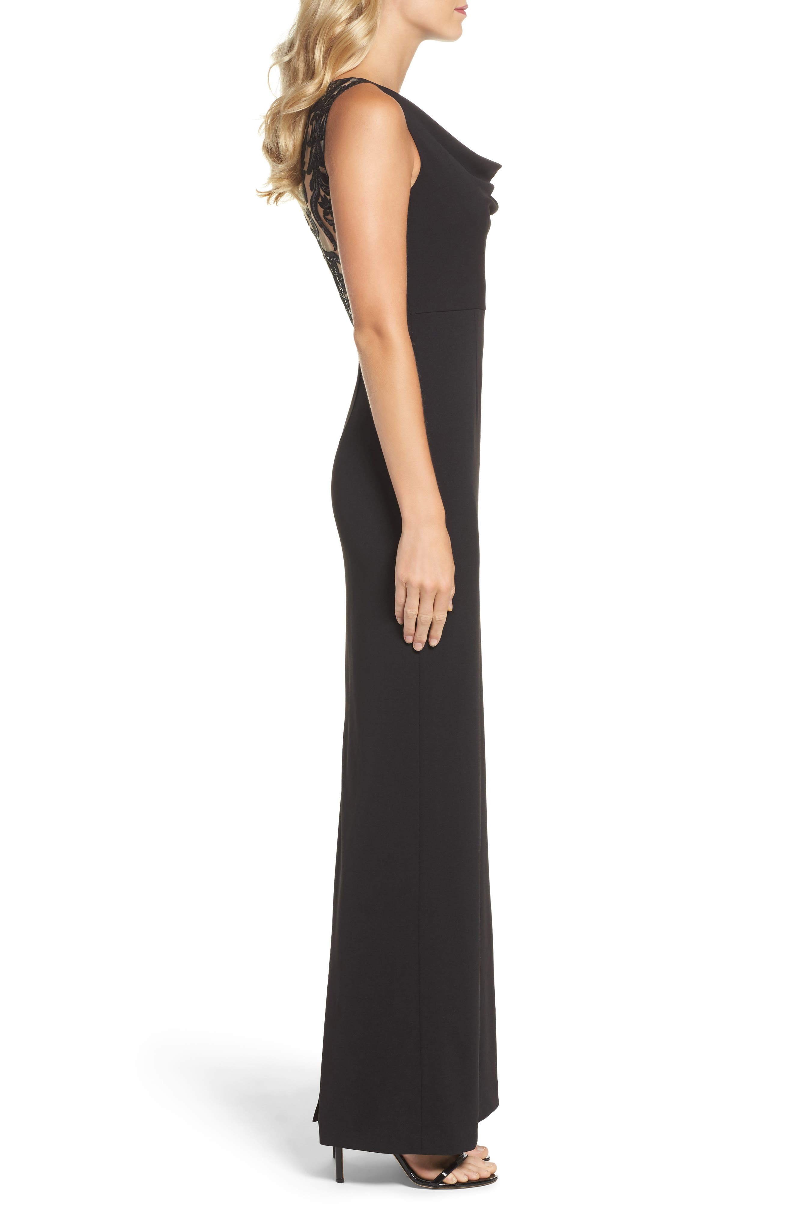Cowl Neck Embroidered Back Gown,                             Alternate thumbnail 3, color,                             002