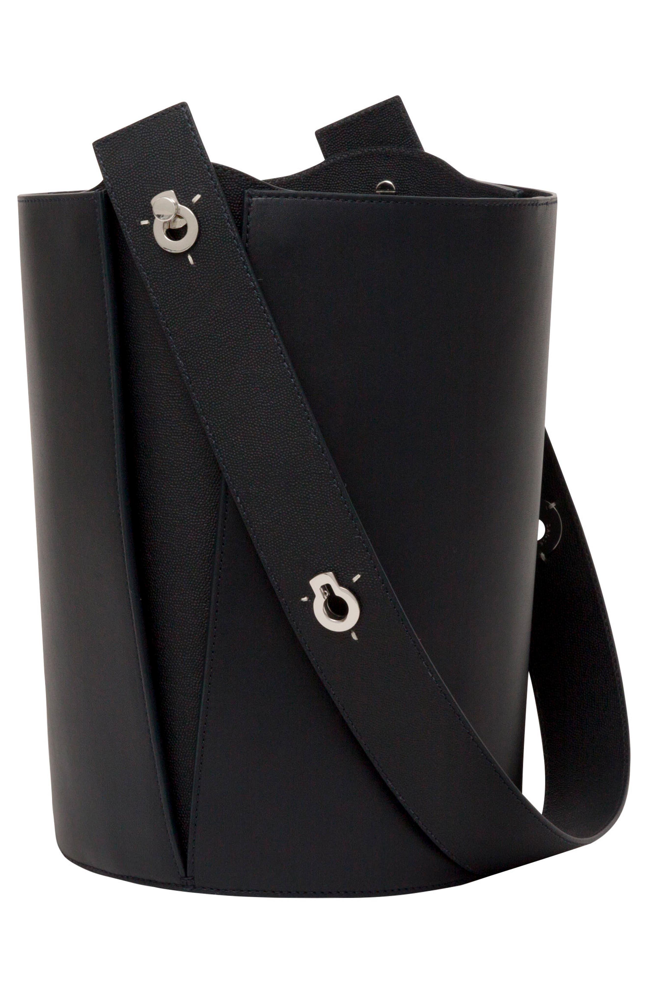 Mini Lorna Leather Bucket Bag,                             Alternate thumbnail 9, color,                             MARINE