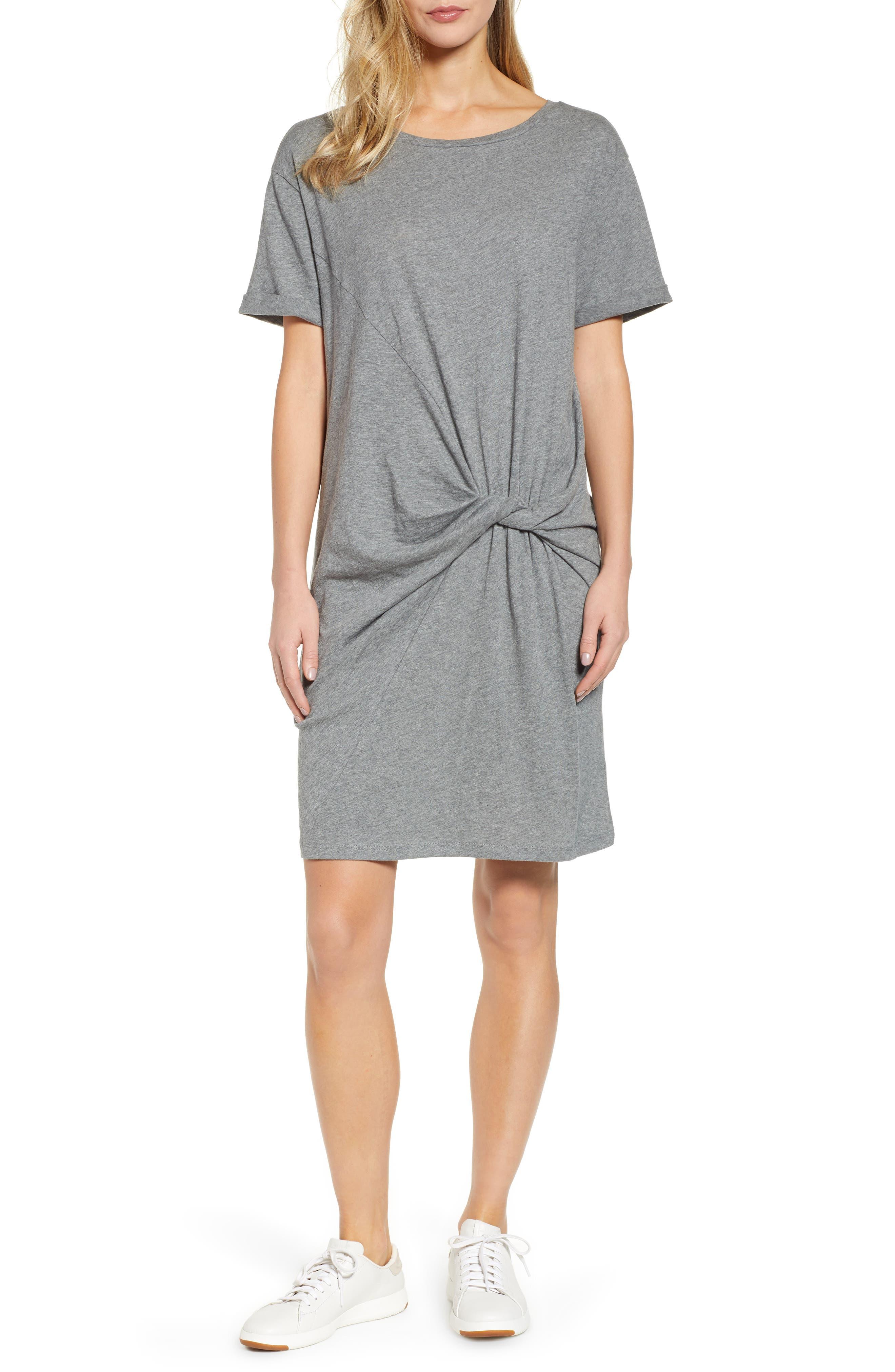 Knot Front T-Shirt Dress,                             Main thumbnail 1, color,                             GREY DARK HEATHER