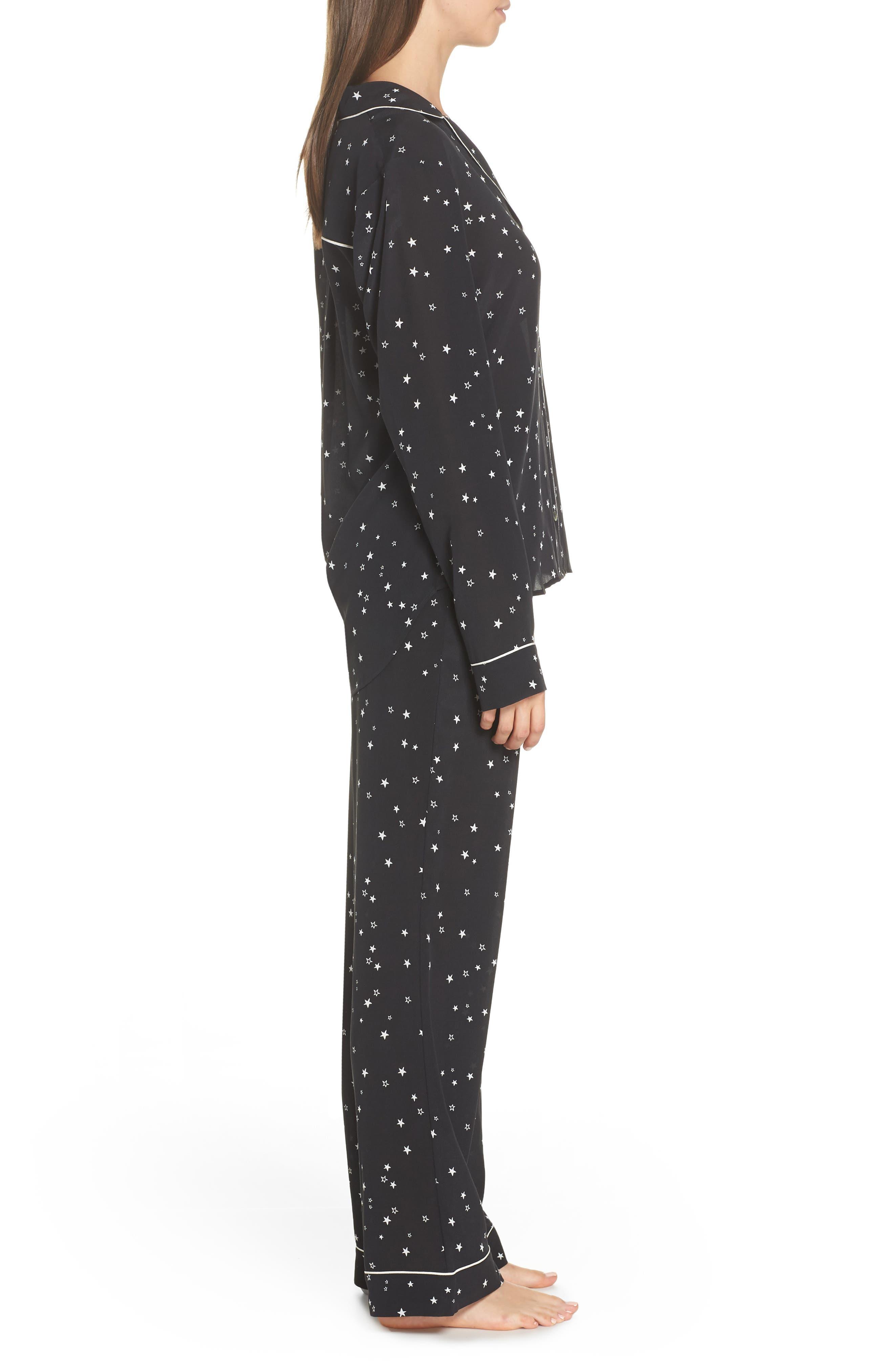 Raven Silk Pajamas,                             Alternate thumbnail 3, color,                             BLACK STARS