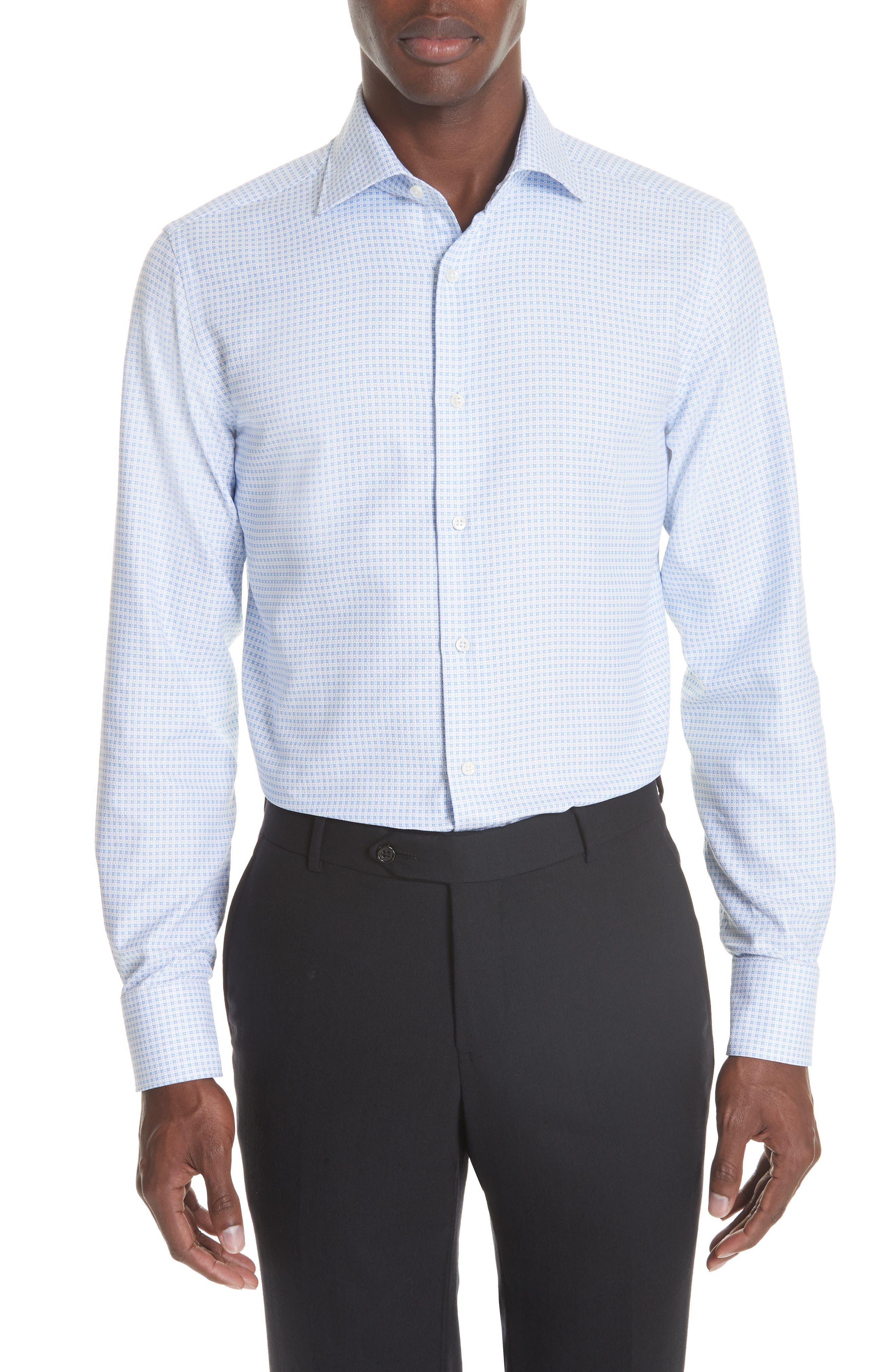 Trim Fit Check Dress Shirt,                             Main thumbnail 1, color,                             BRIGHT BLUE