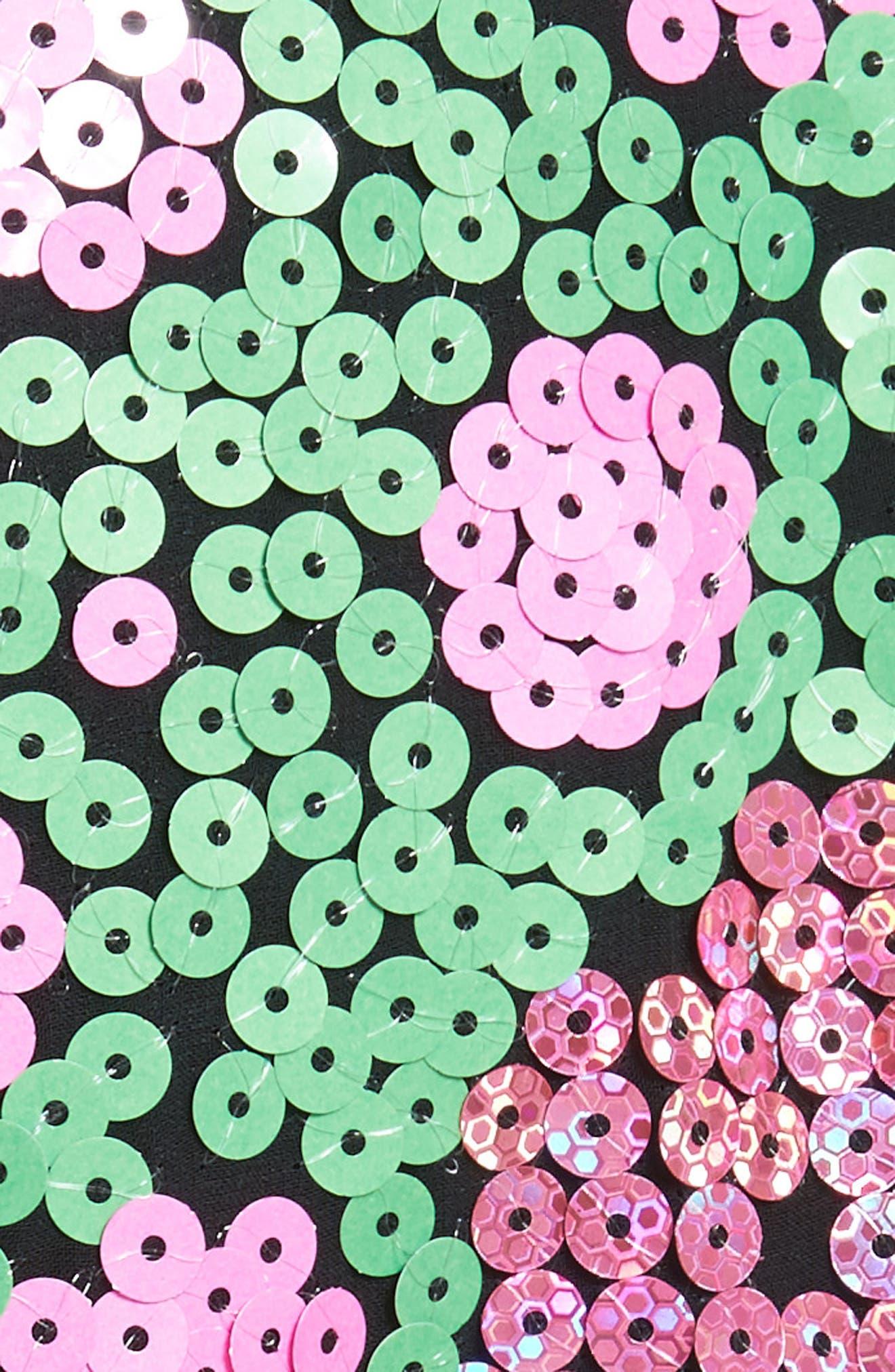 Floral Sequin Midi dress,                             Alternate thumbnail 5, color,                             300