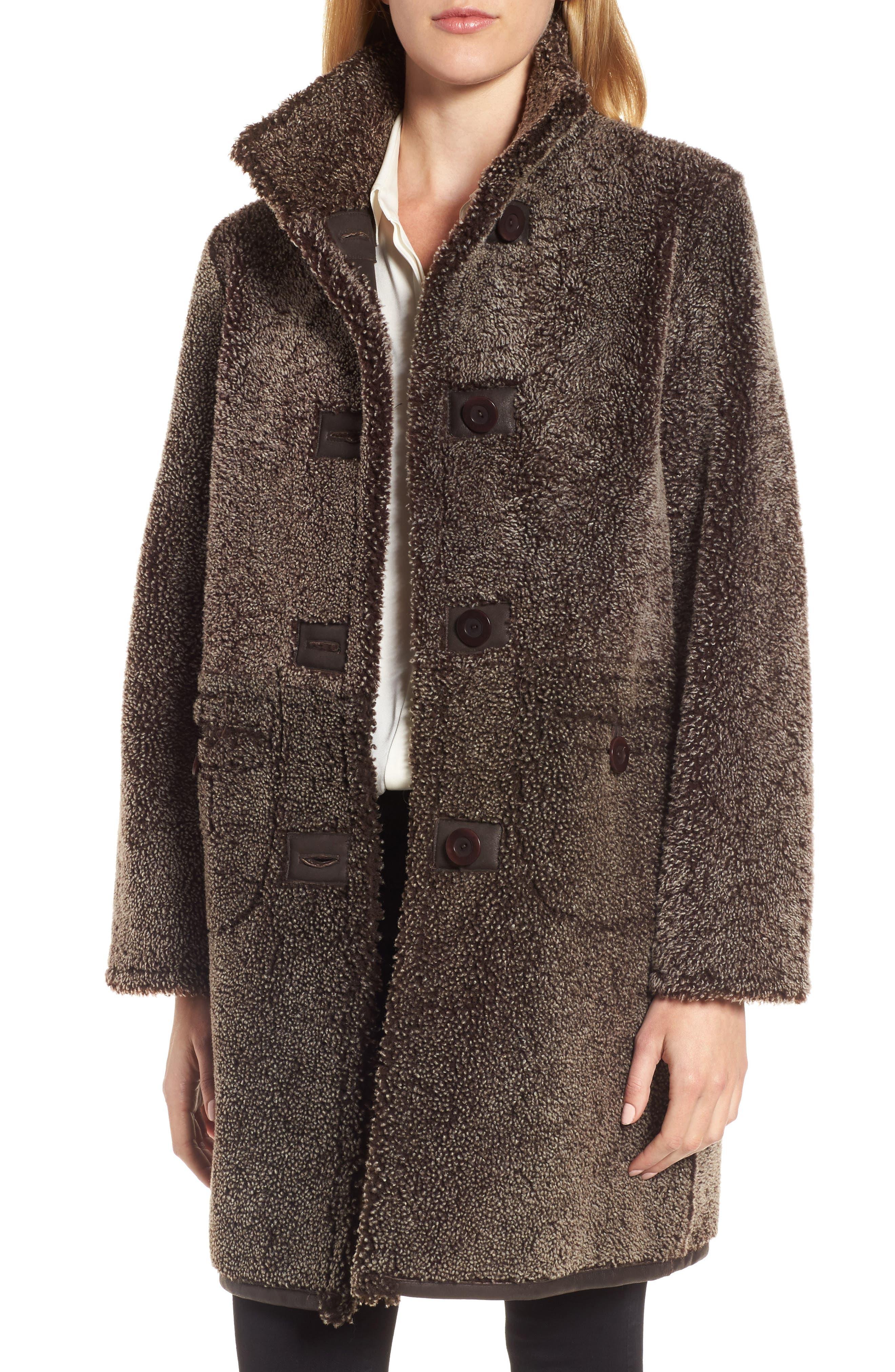 Reversible Genuine Shearling Coat,                             Alternate thumbnail 4, color,                             203