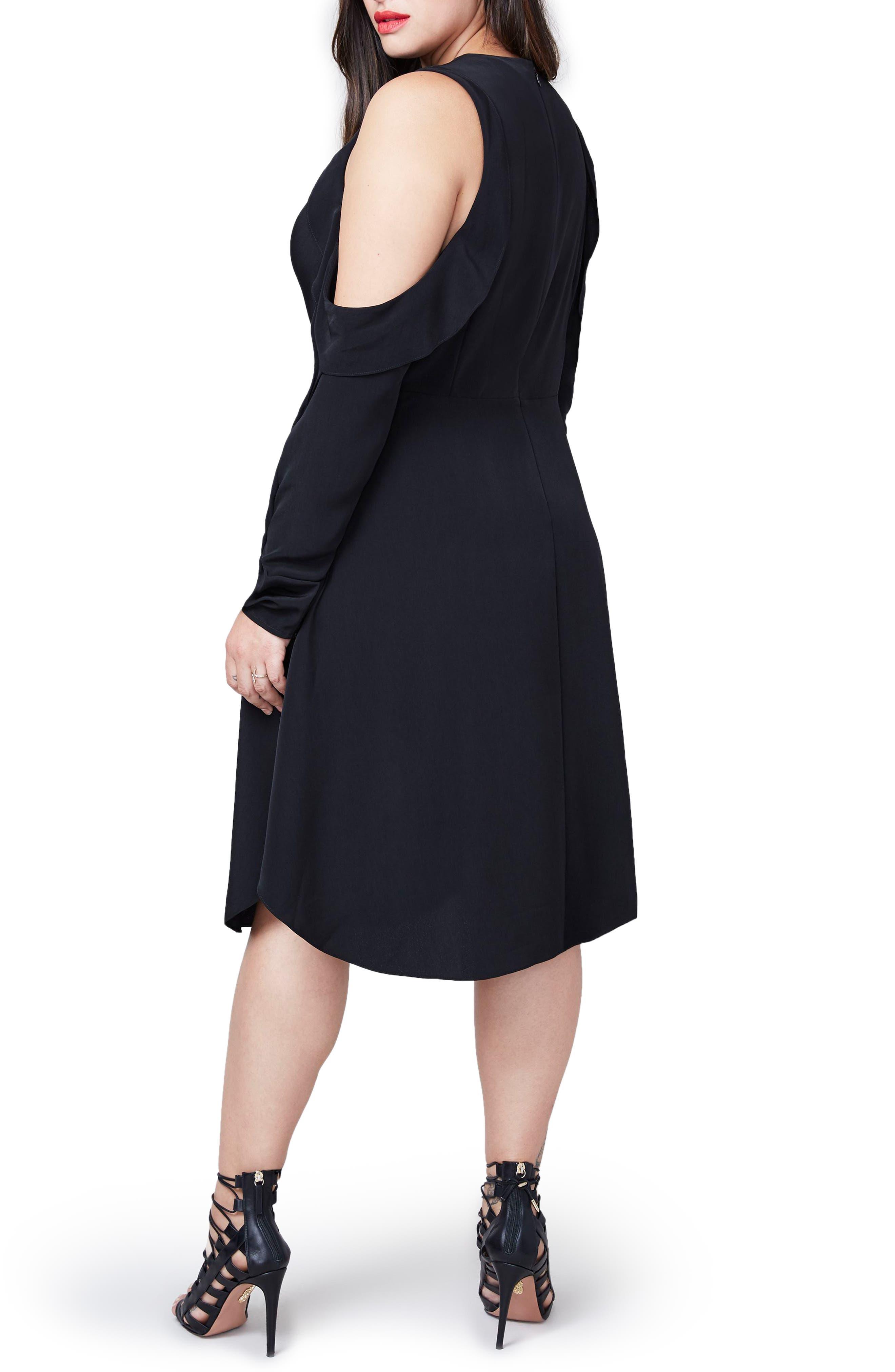 RACHEL Rachel Roy Ruffle Cold Shoulder Dress,                             Alternate thumbnail 2, color,                             001