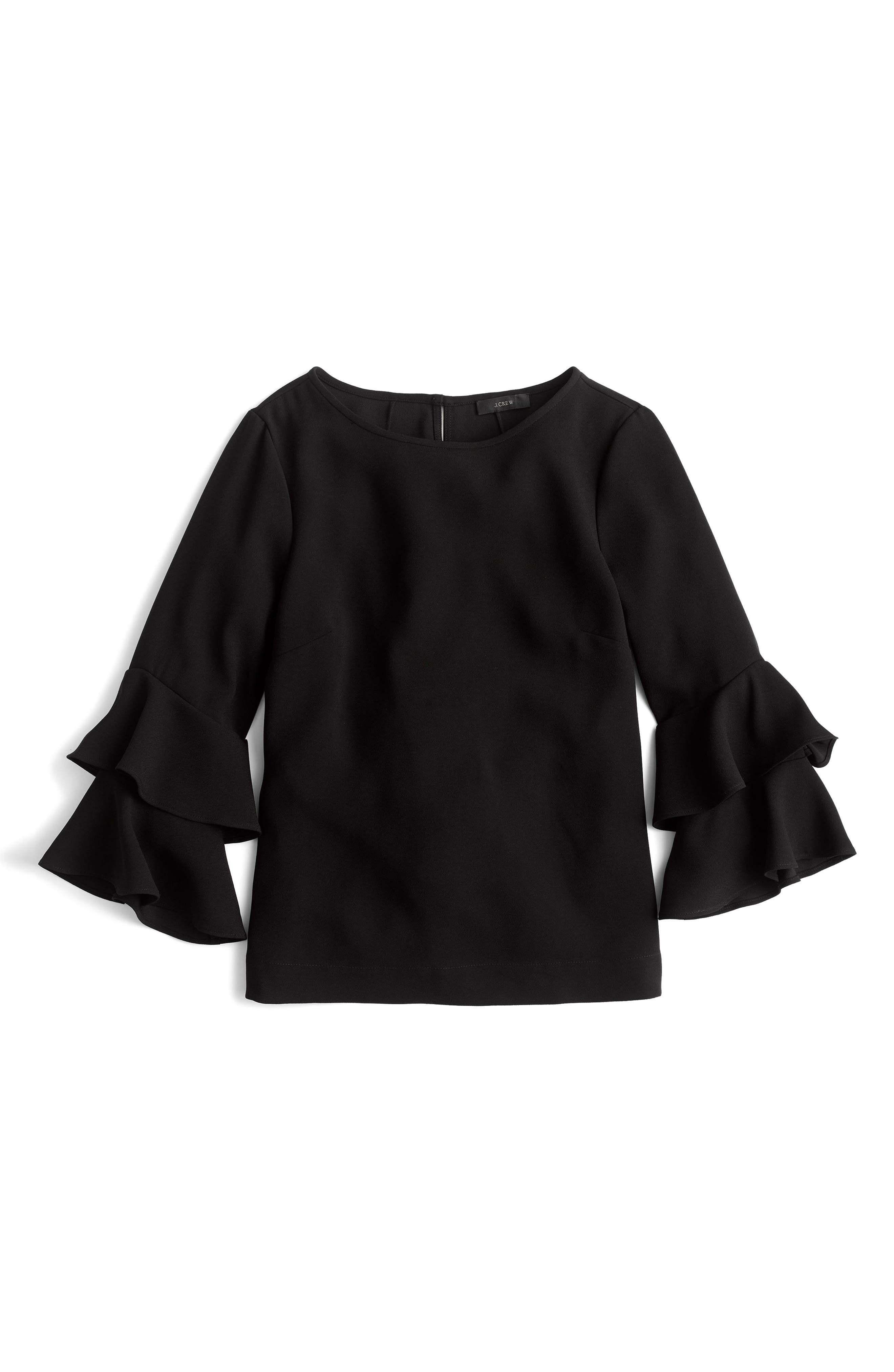 Lana Tiered Bell Sleeve Top,                             Alternate thumbnail 3, color,                             001