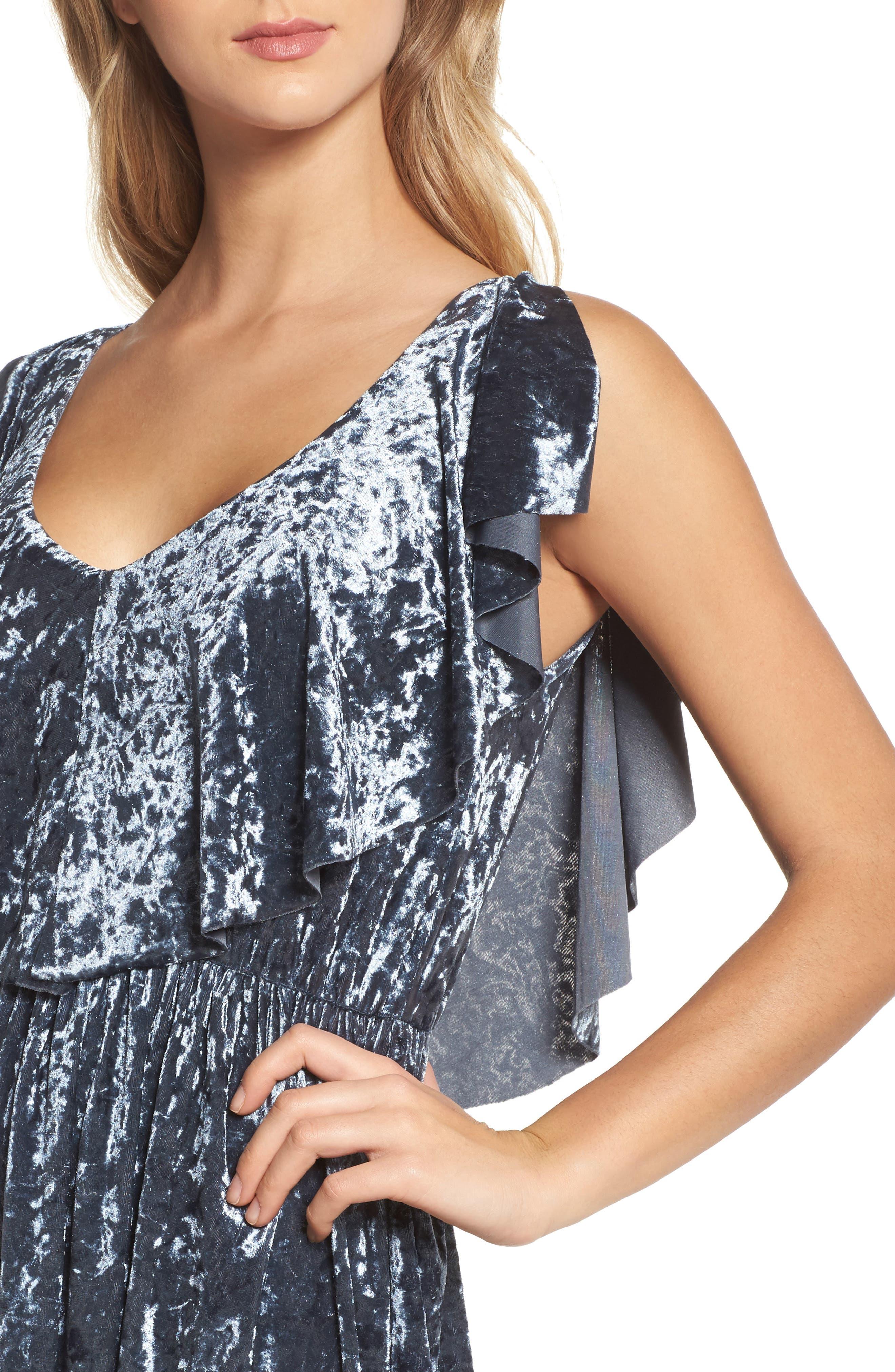 Crushed Velvet Midi Dress,                             Alternate thumbnail 4, color,                             405