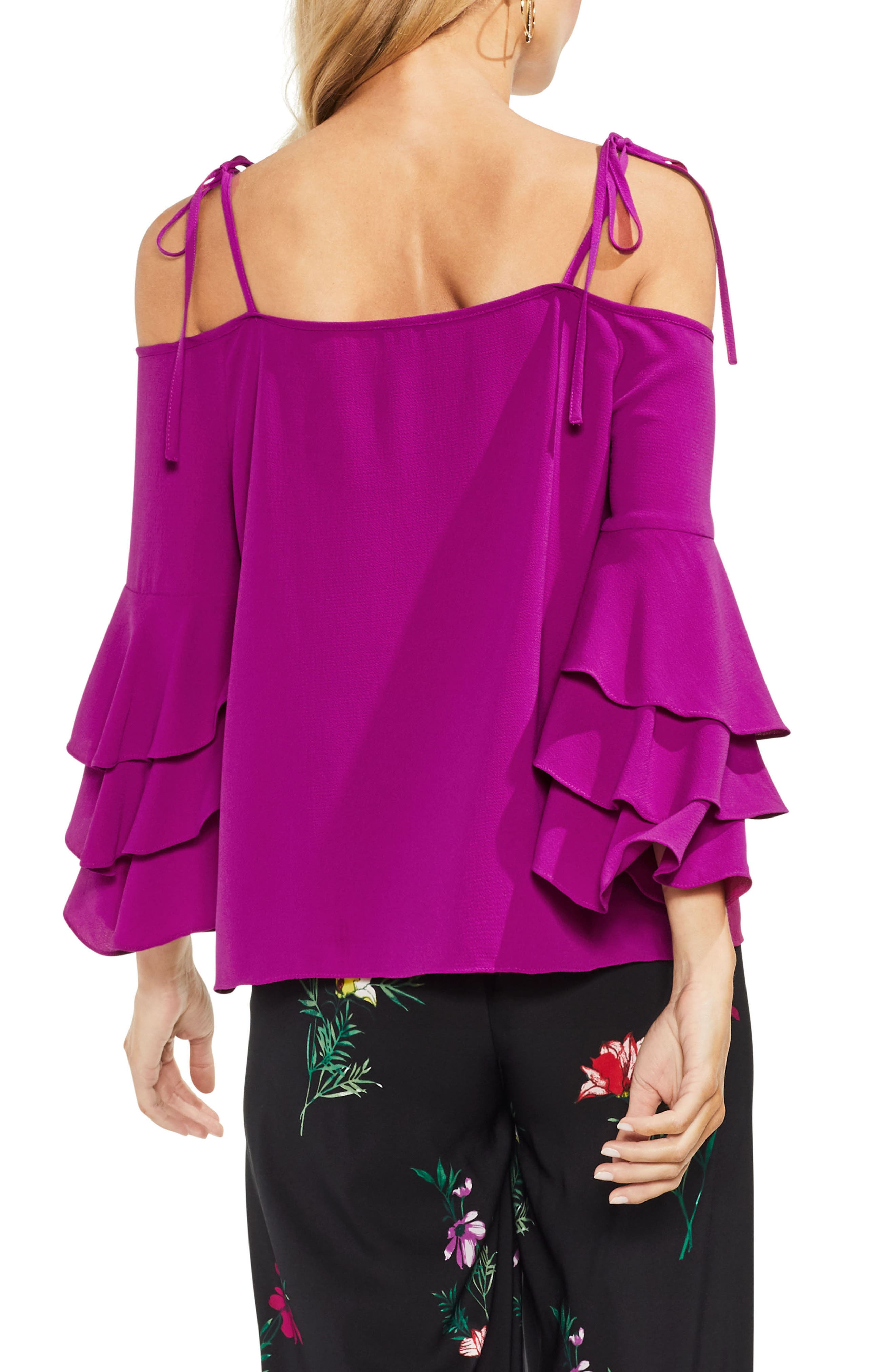 Cold Shoulder Ruffle Sleeve Top,                             Alternate thumbnail 6, color,